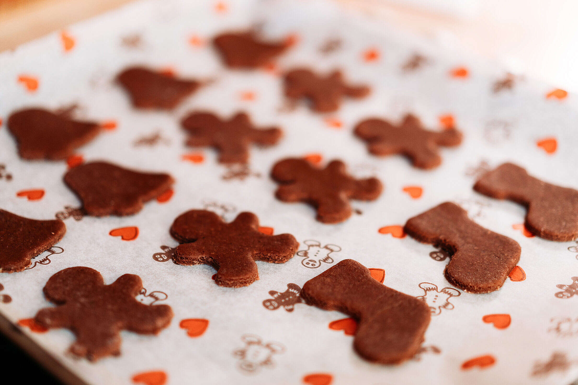 Christmas Gingerbread Cookies on a Tray Free Stock Photo