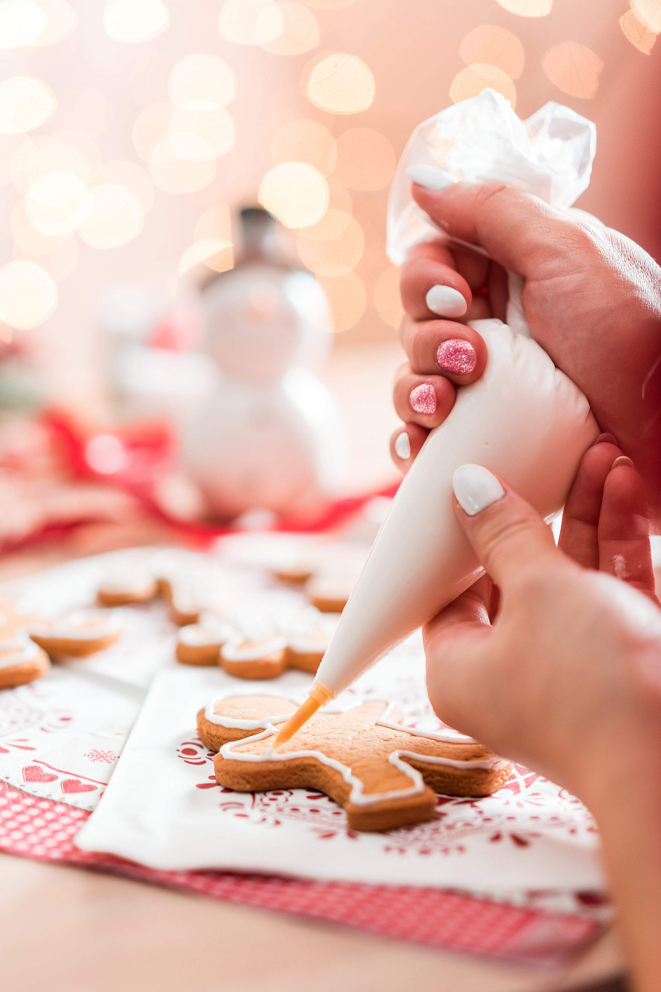 Christmas Gingerbread Decorating Free Stock Photo