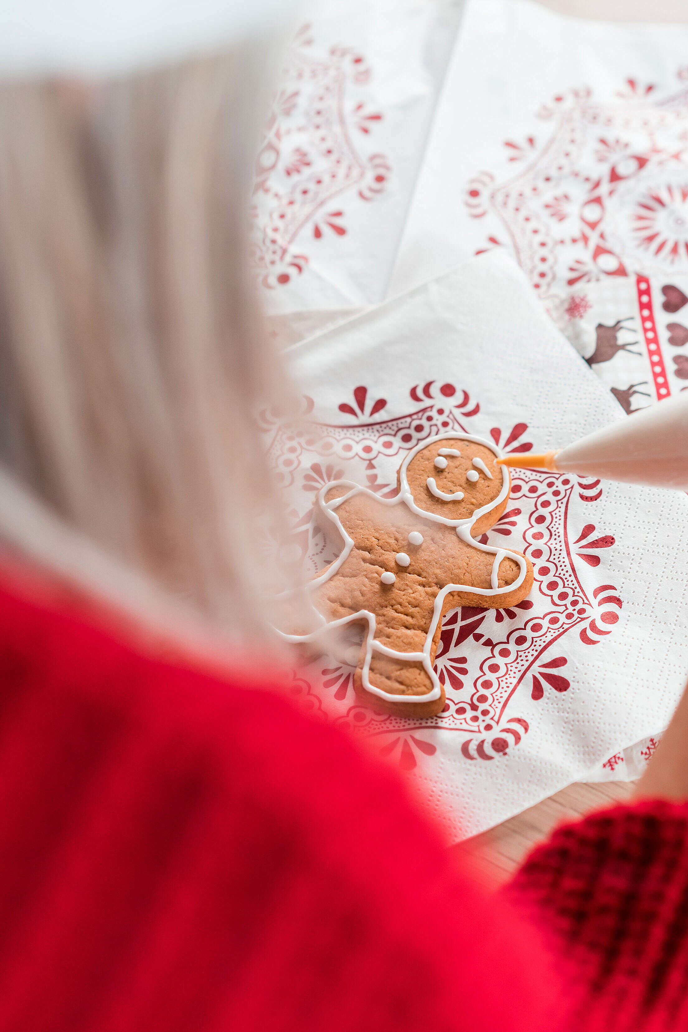 Christmas Gingerbread Man Vertical Free Stock Photo