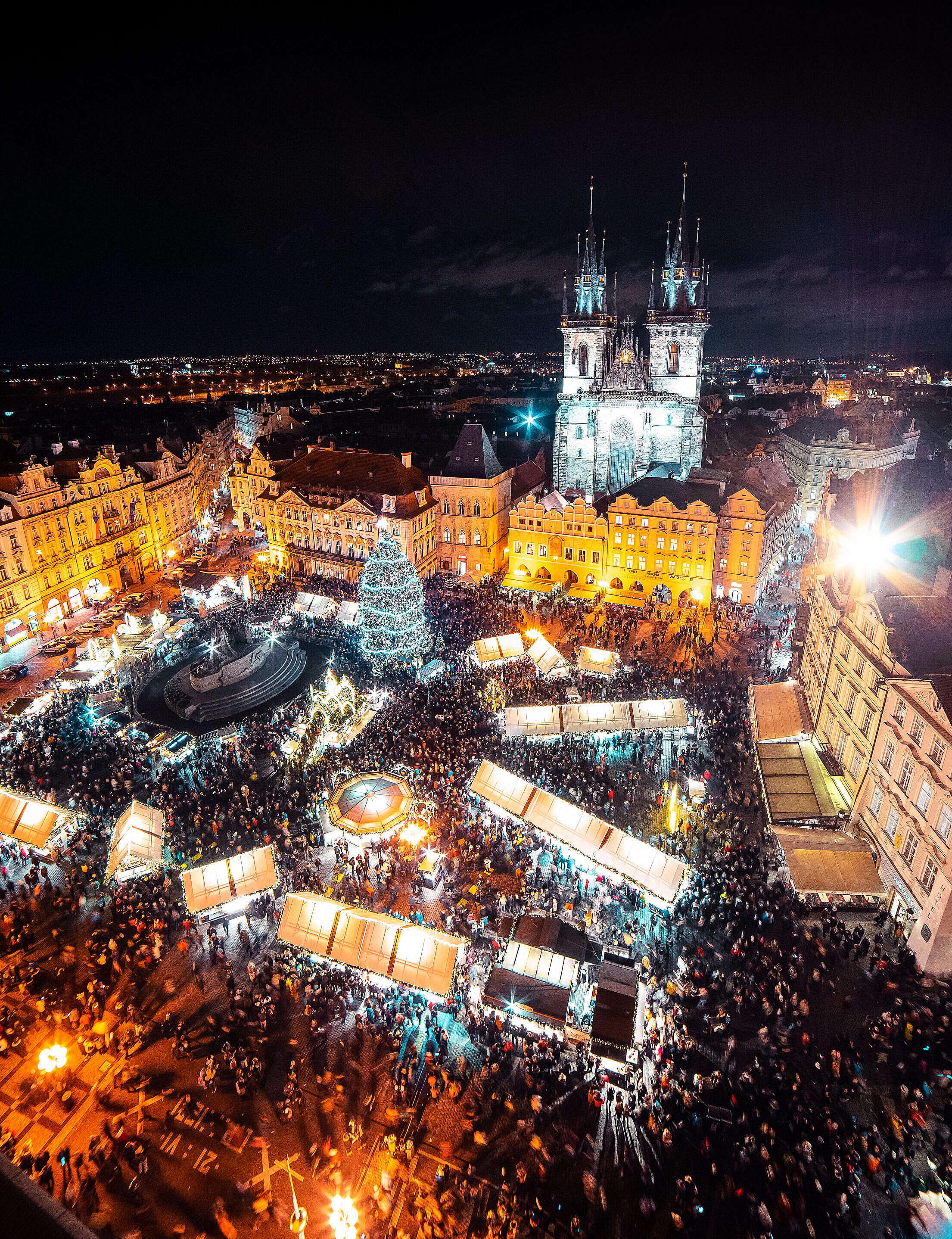 Christmas Market in Prague Free Stock Photo
