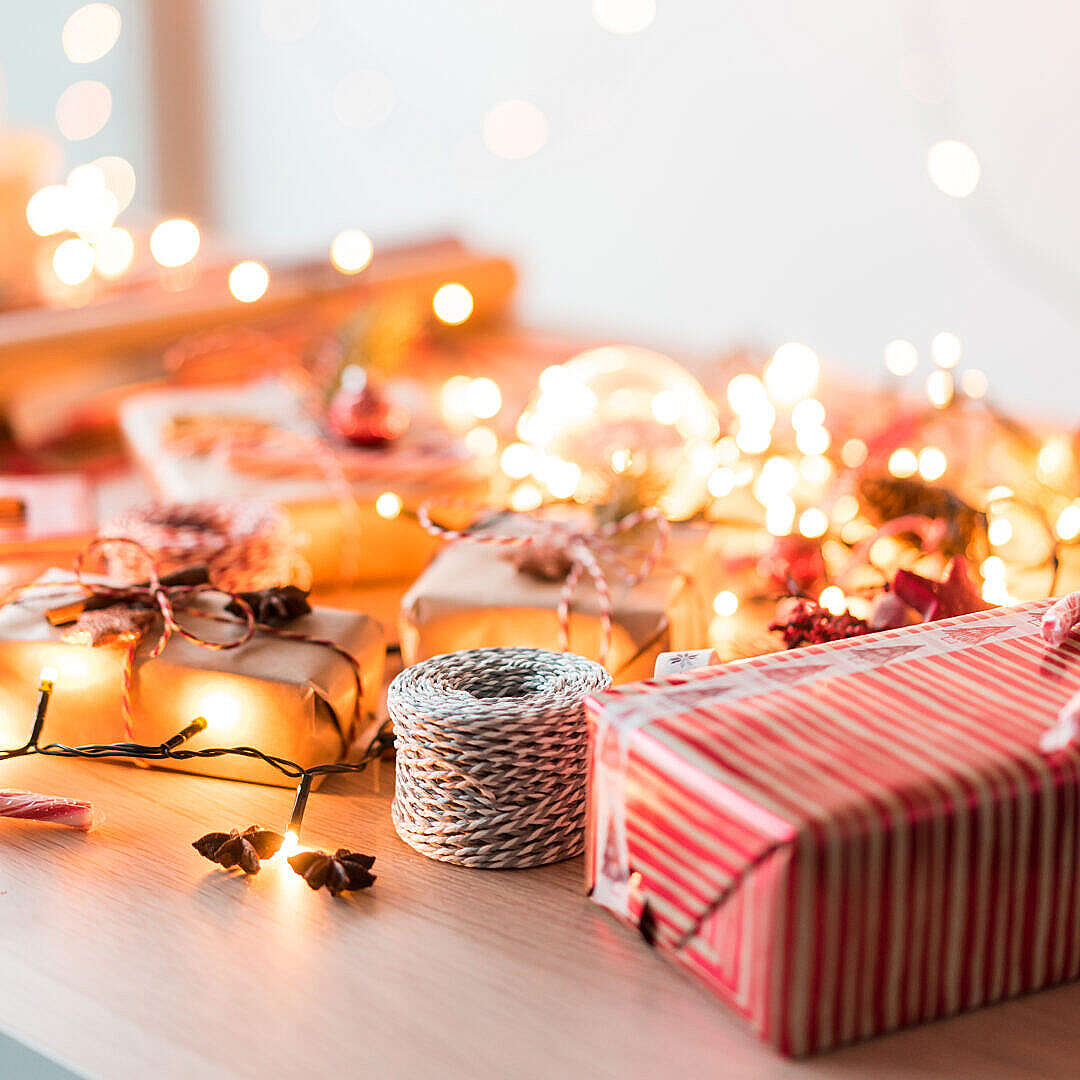 Download Christmas Mood Gift Wrapping and Decorations FREE Stock Photo
