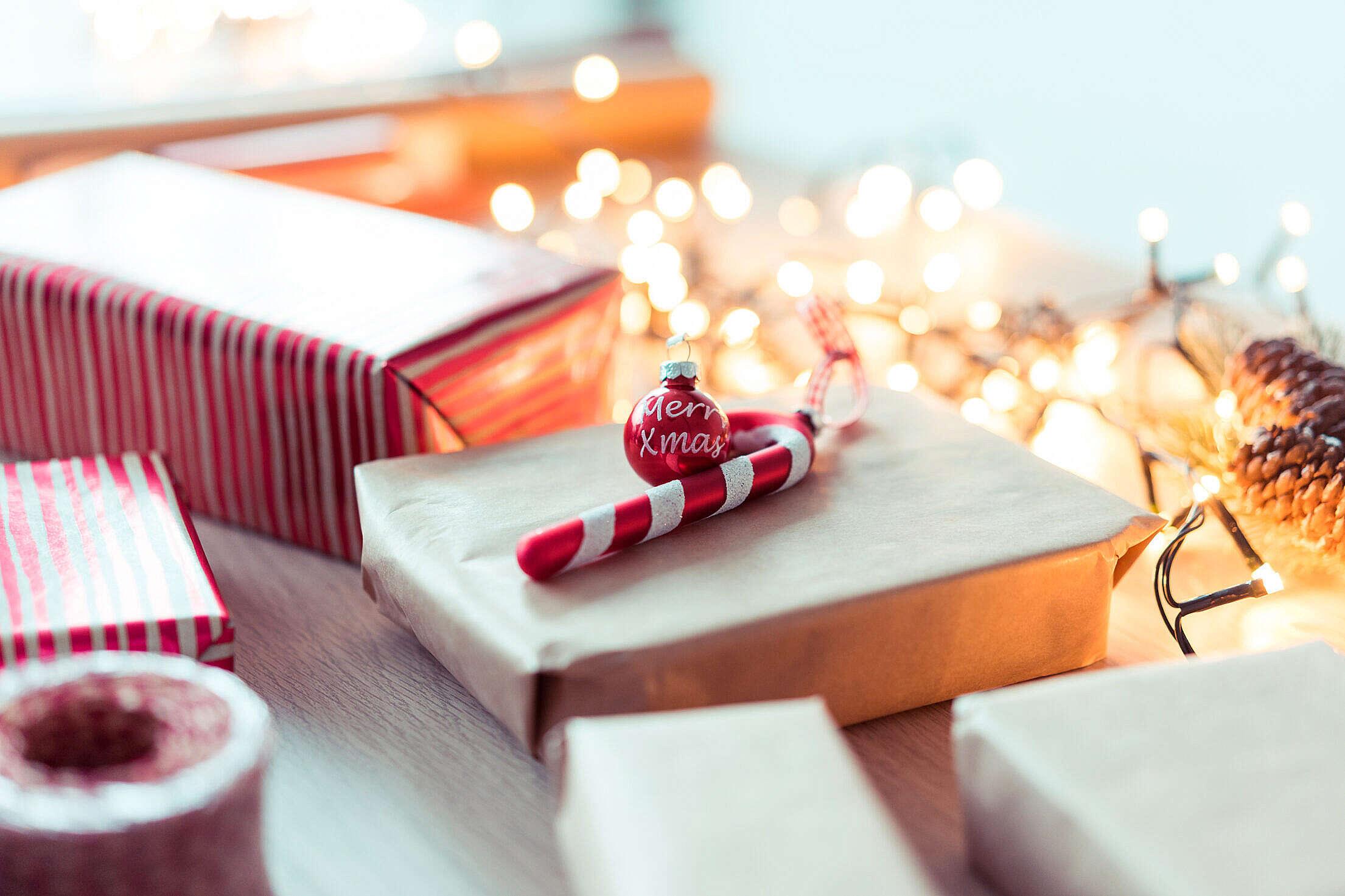 Christmas Preparations Presents Decorations Lights Free Stock Photo
