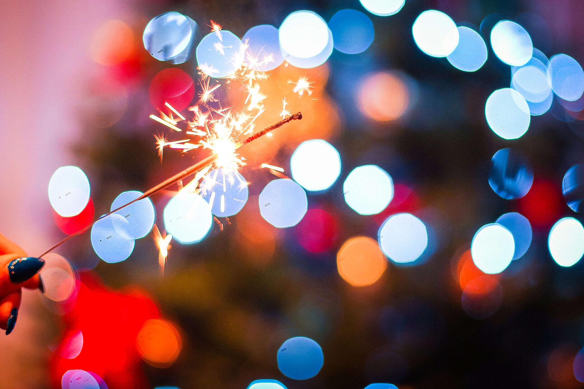 Christmas Sparklers Fun Free Stock Photo
