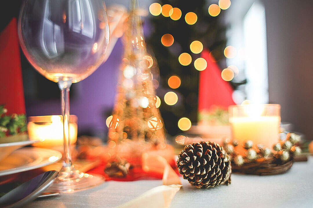 Download Christmas Table Decoration Close-Up FREE Stock Photo