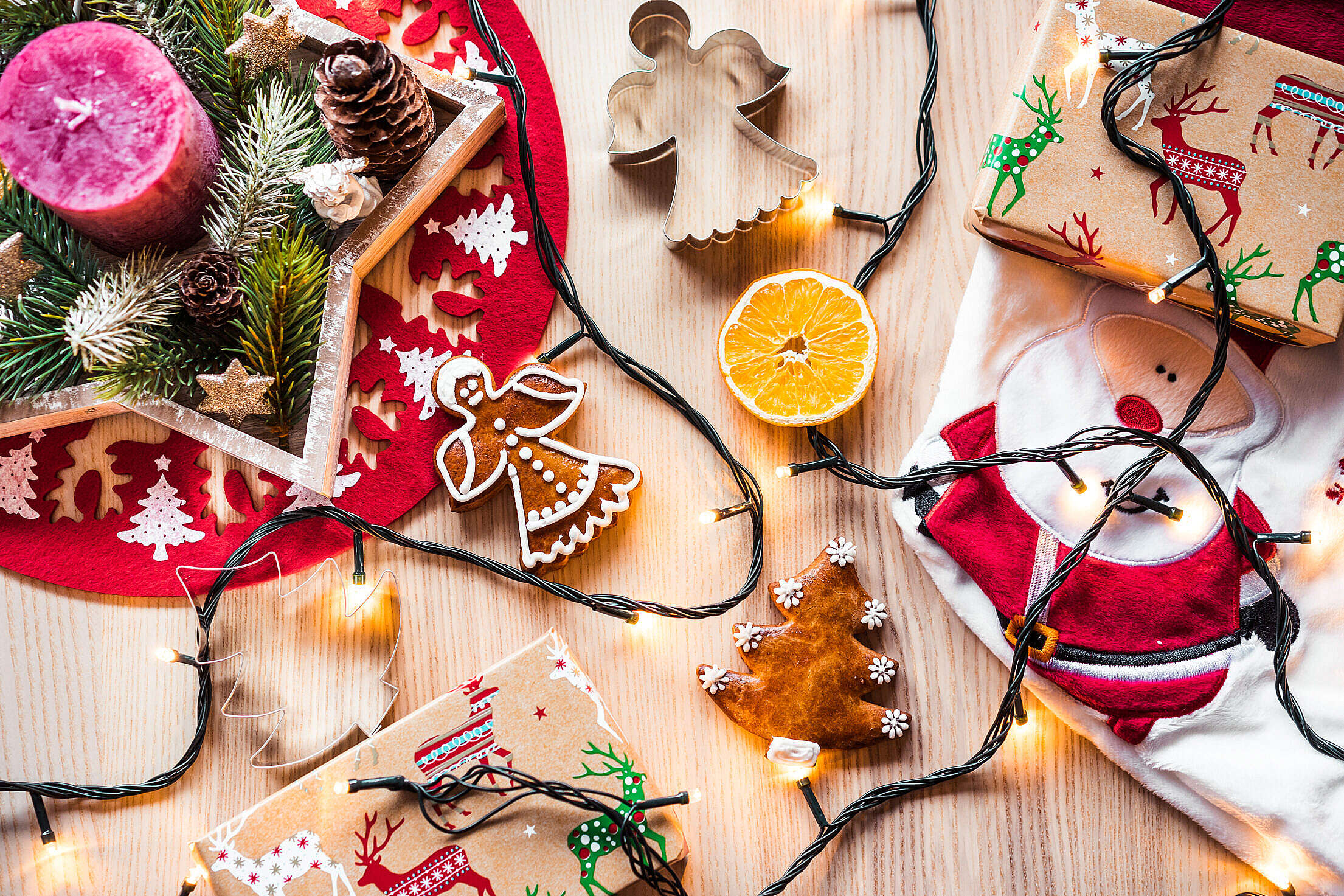 Christmas Time Decorations Still Life Free Stock Photo
