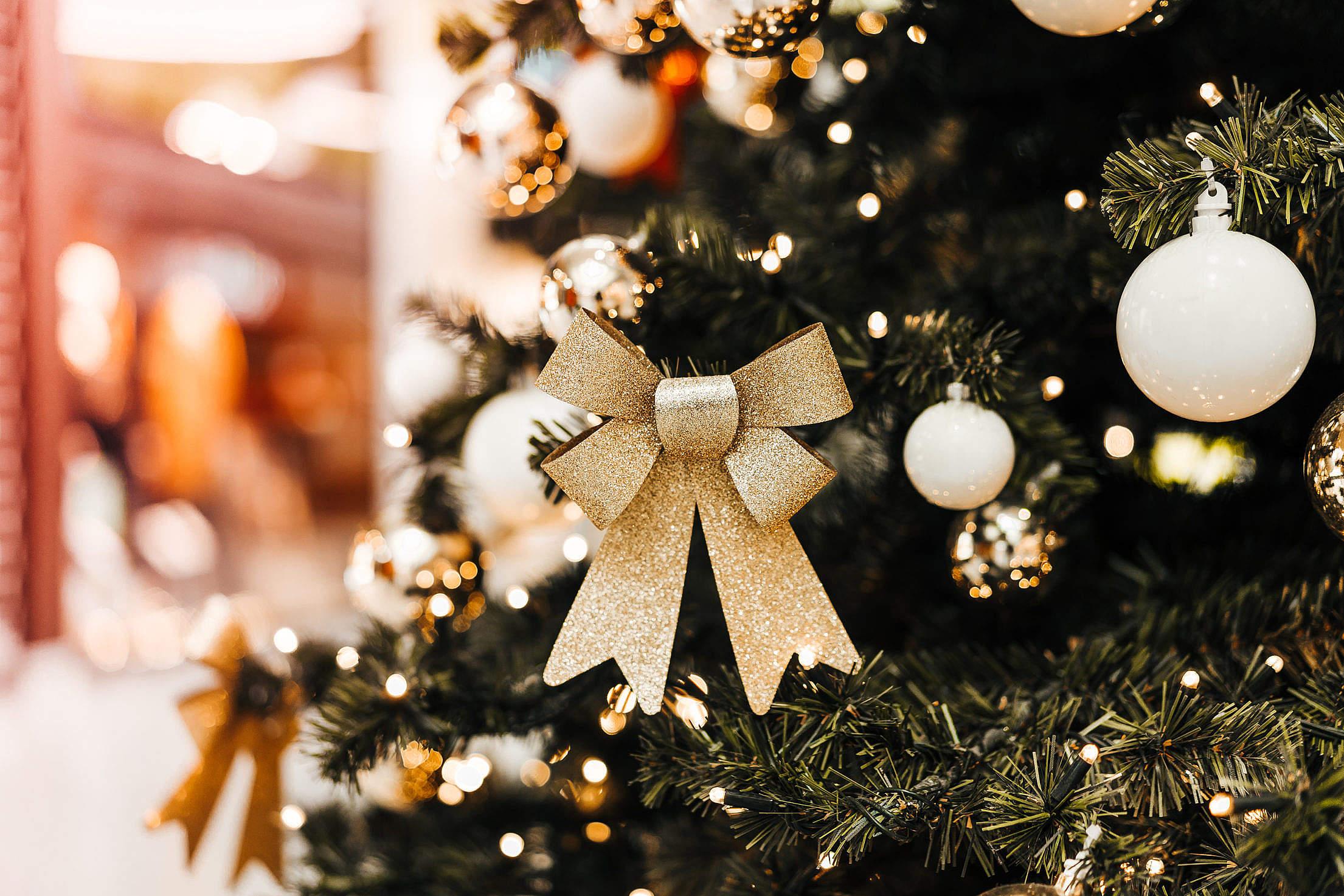 Christmas Tree Decoration Close Up Free Stock Photo