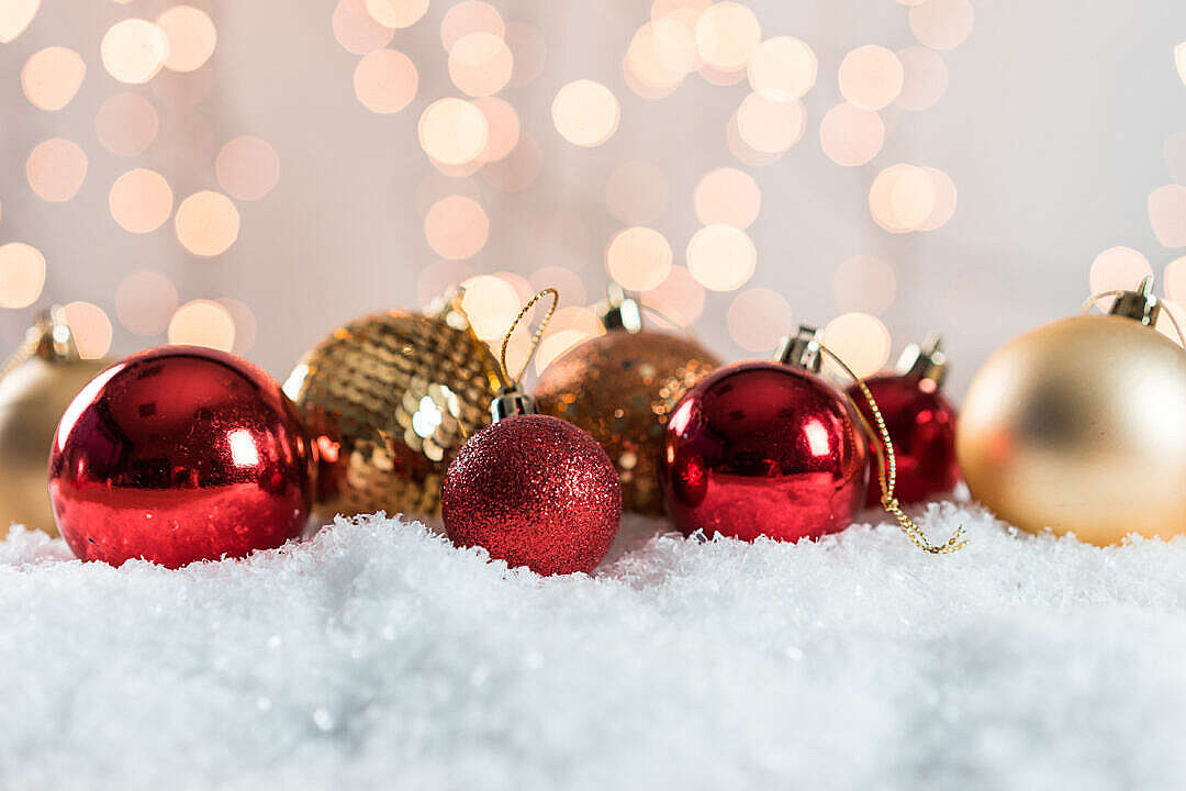 Download Christmas Tree Decorations with Lovely Bokeh FREE Stock Photo