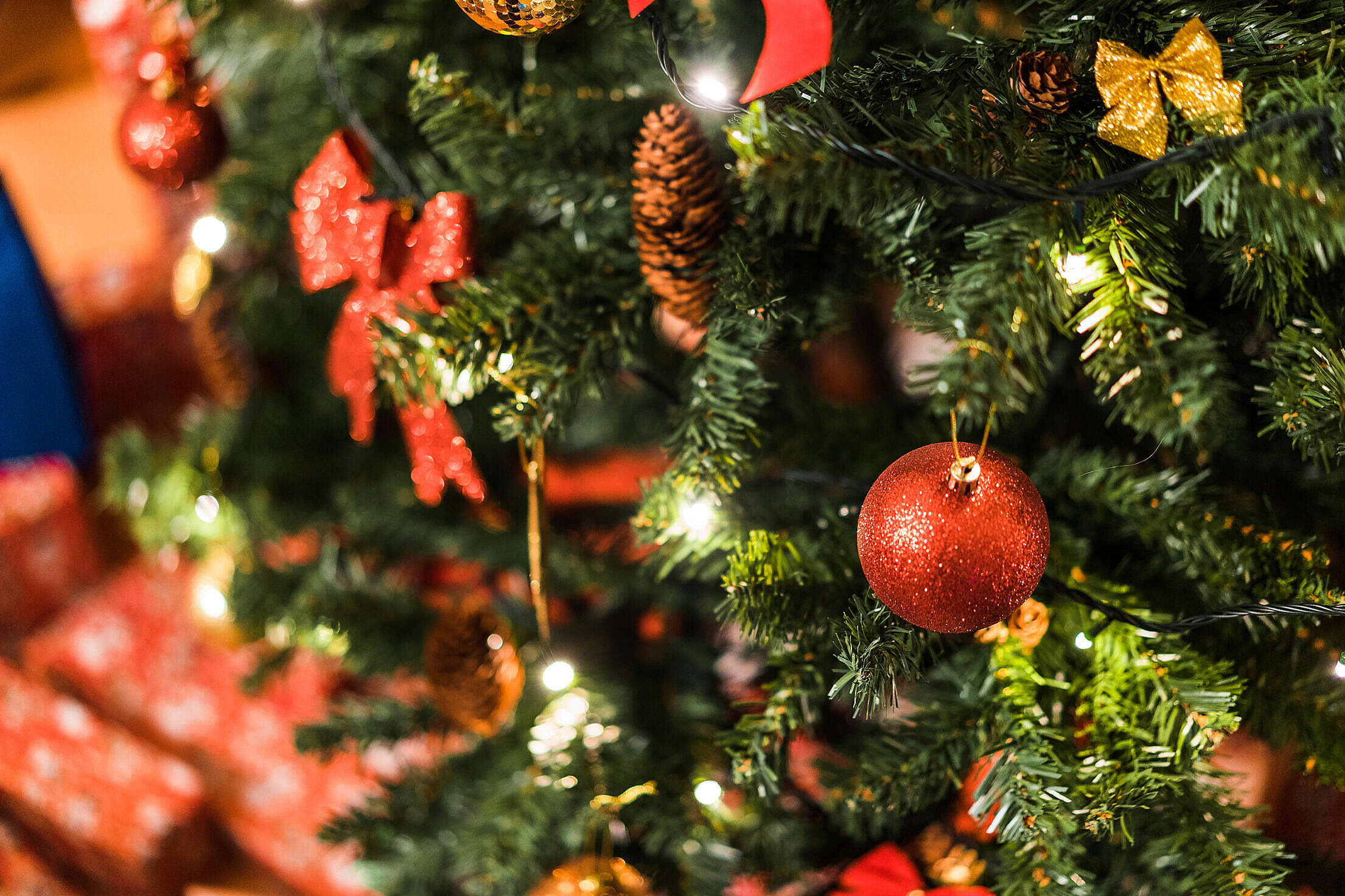 Christmas Tree with Decorations Free Stock Photo