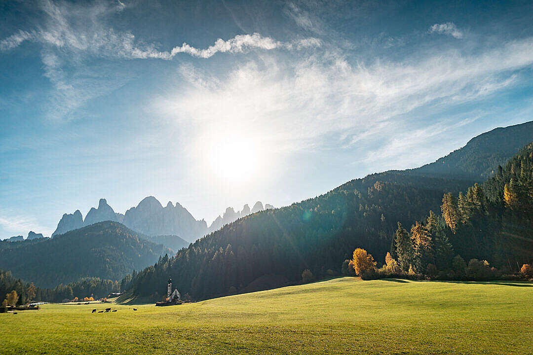Download Church of St Johann in Ranui, Dolomites Italy FREE Stock Photo