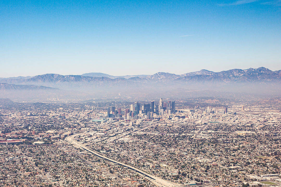 Download City of Los Angeles California Aerial View from Airplane FREE Stock Photo