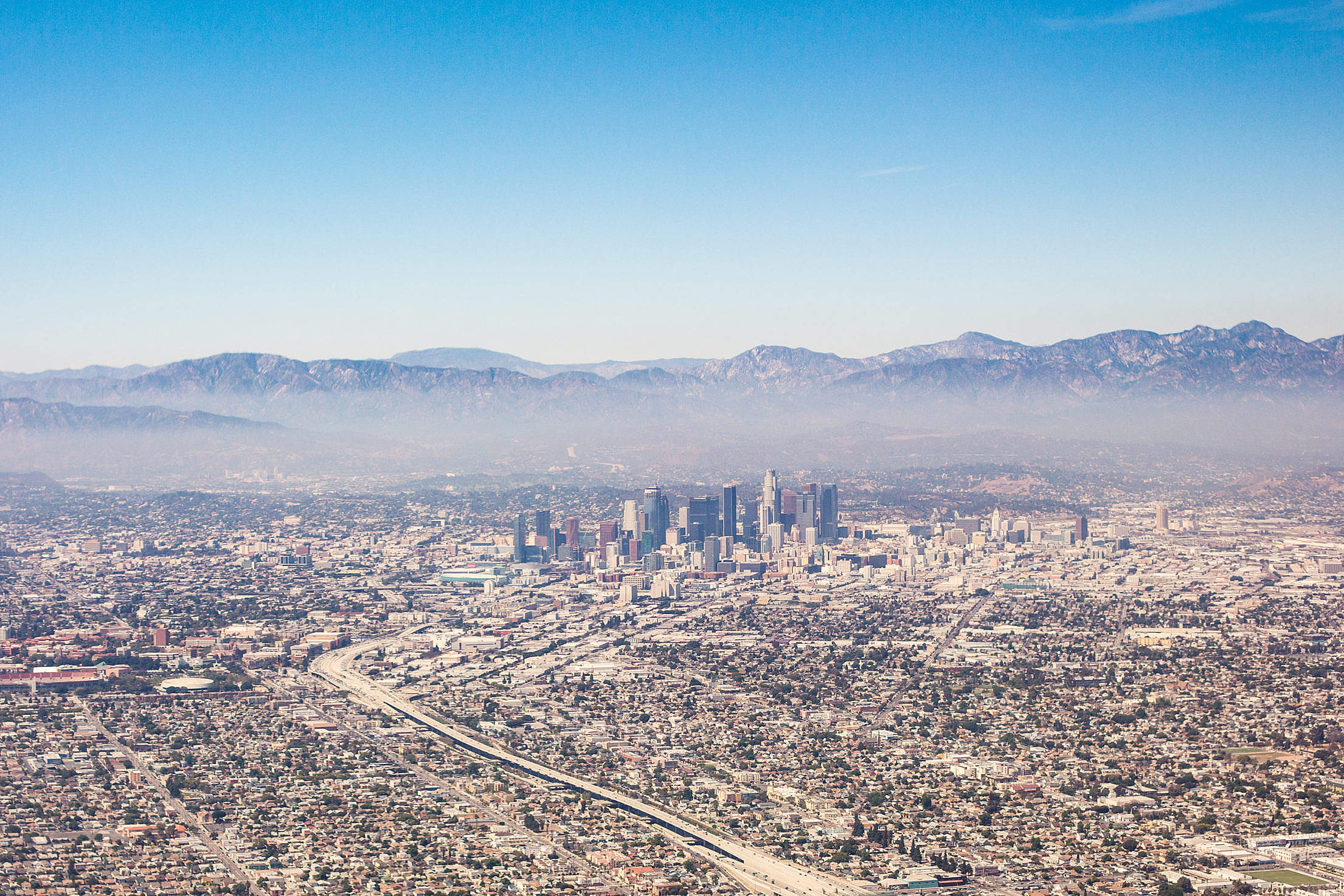 City of Los Angeles California Aerial View from Airplane Free Stock Photo
