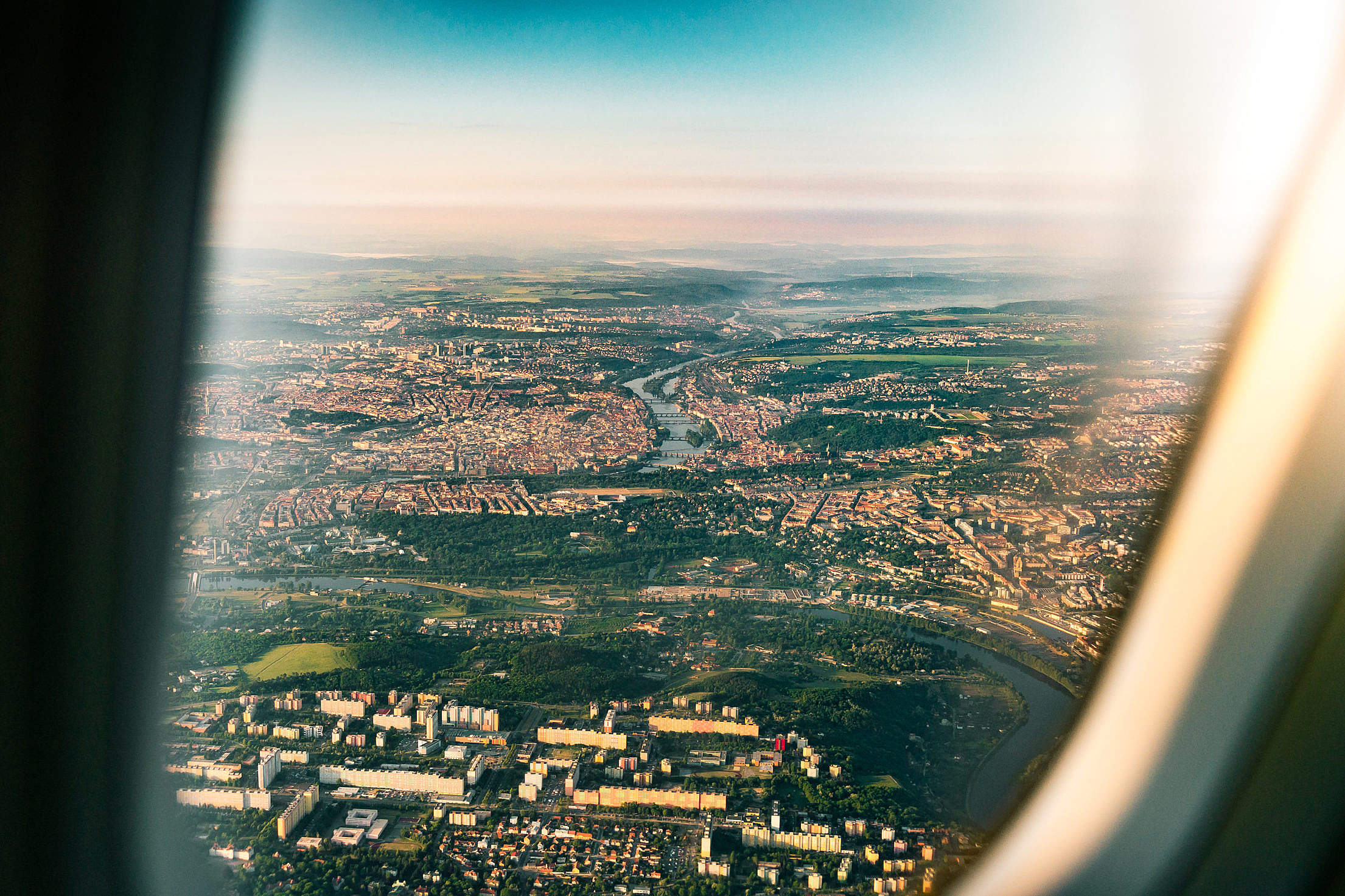 City of Prague from the Airplane Window Free Stock Photo