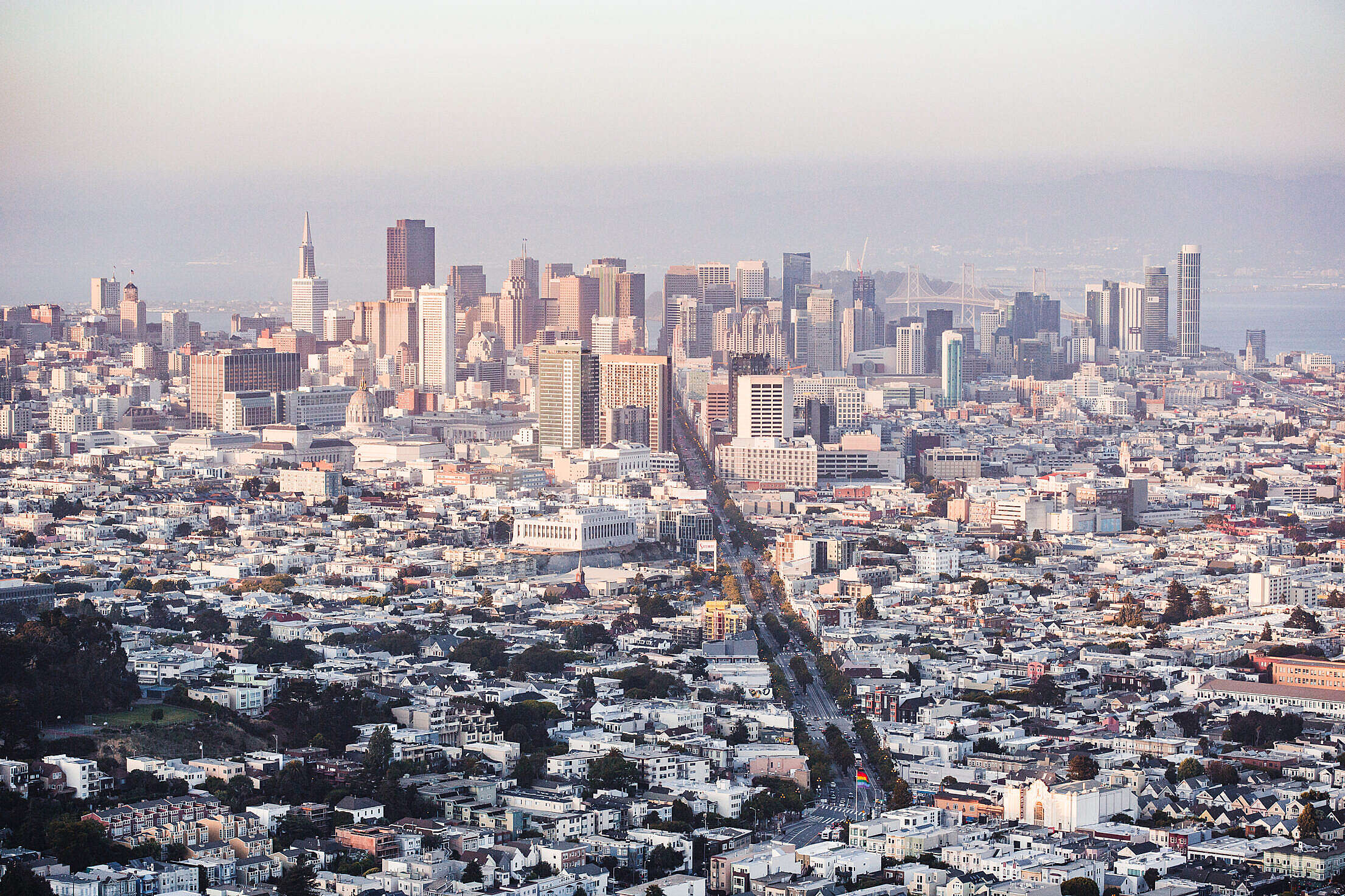 Cityscape View of Financial District Skyscrapers in San Francisco, California Free Stock Photo