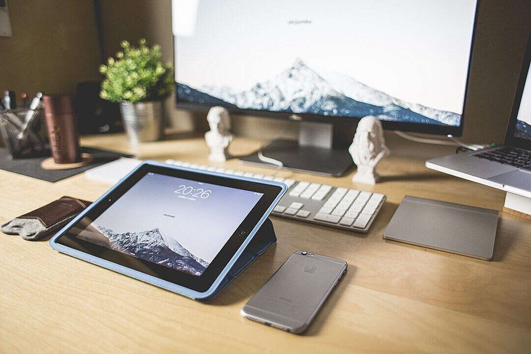 Download Clean Wooden Workspace Desk Setup FREE Stock Photo