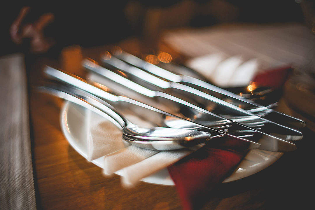 Download Close Up of Table Setting with Cutlery FREE Stock Photo