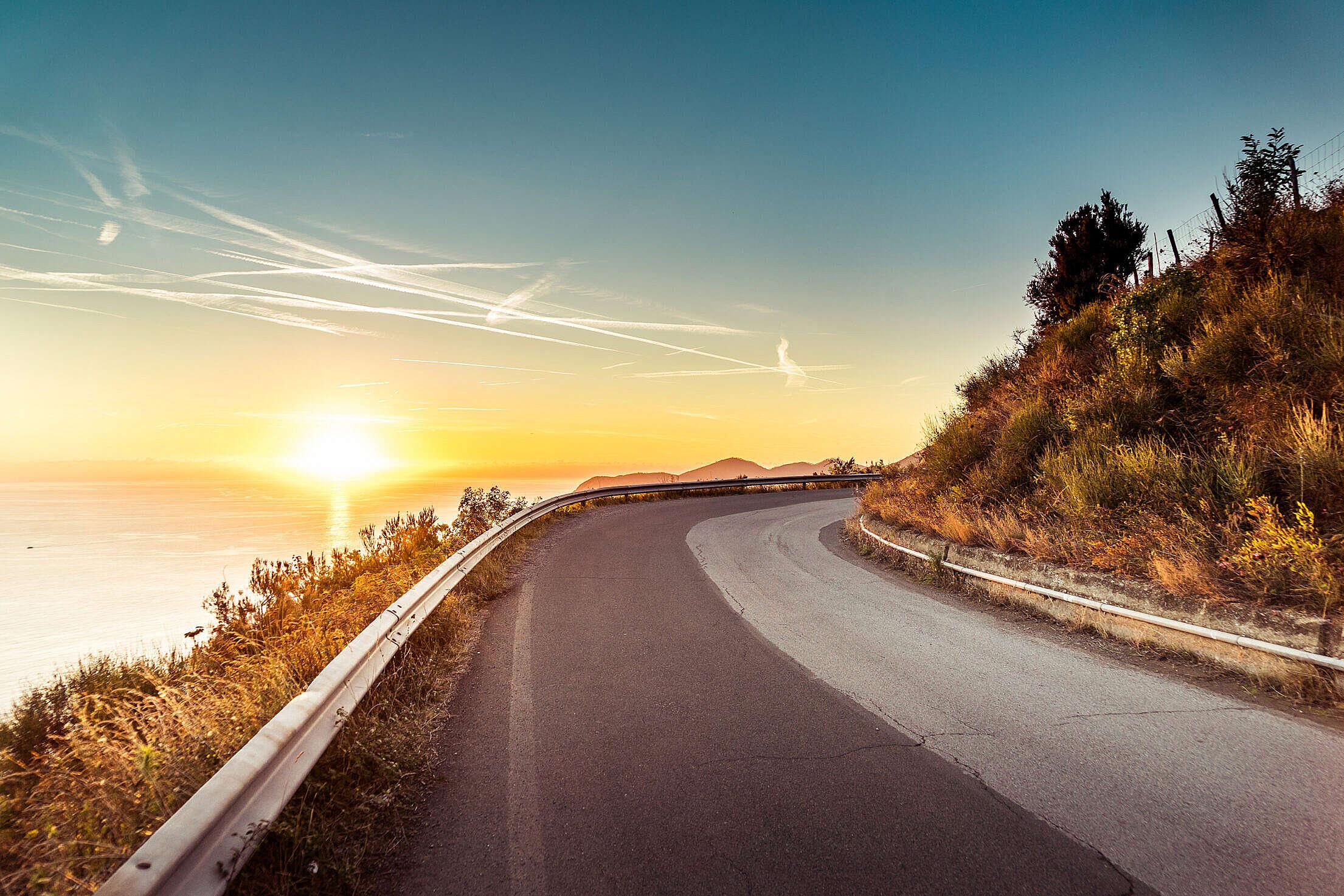Coastline Sunset Road Free Stock Photo