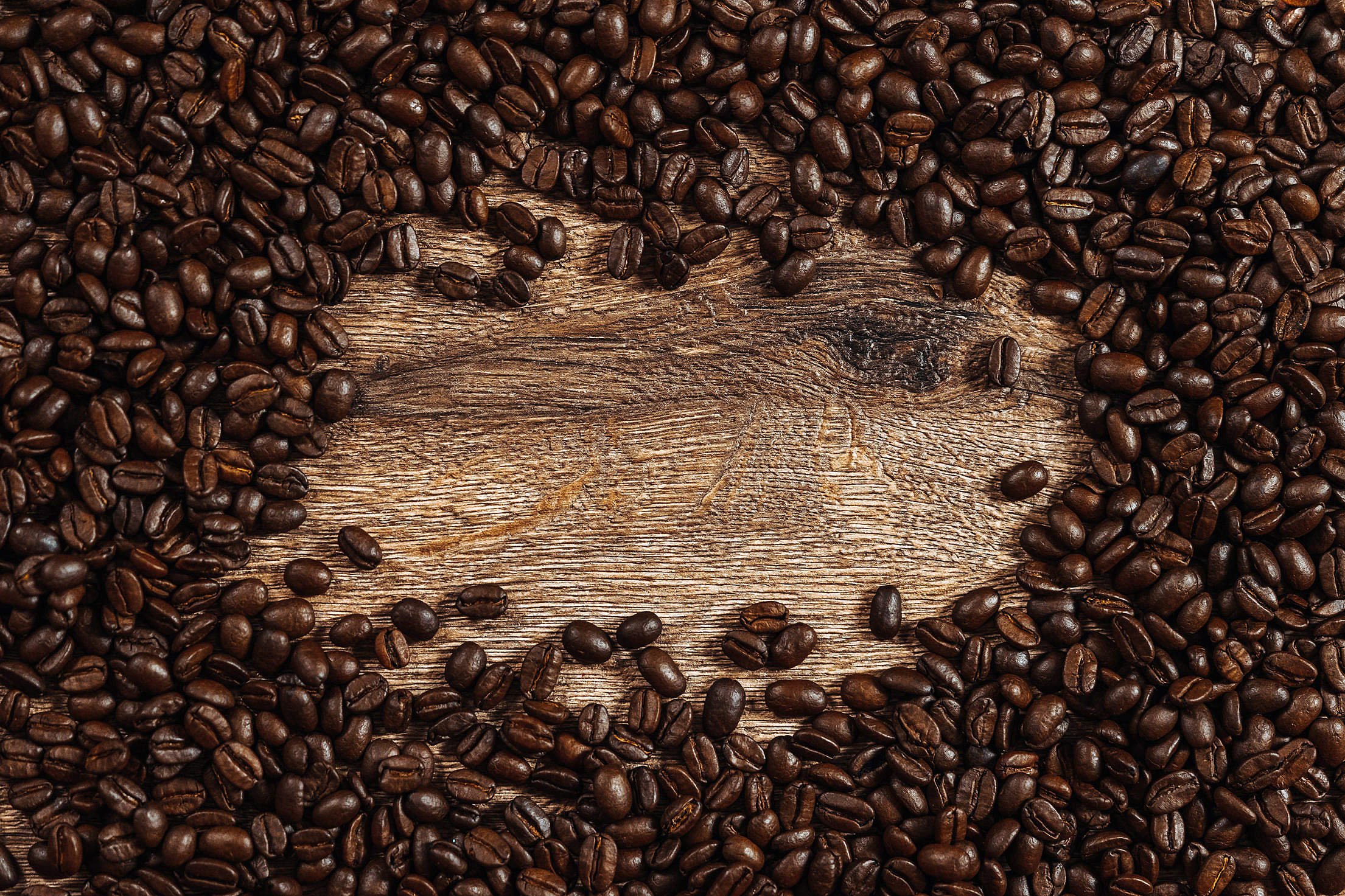 Coffee Beans Background with Place for Text Free Stock Photo