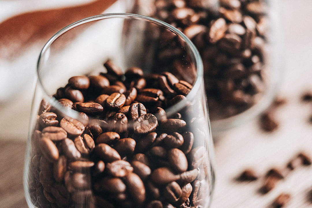 Download Coffee Beans in Glass FREE Stock Photo