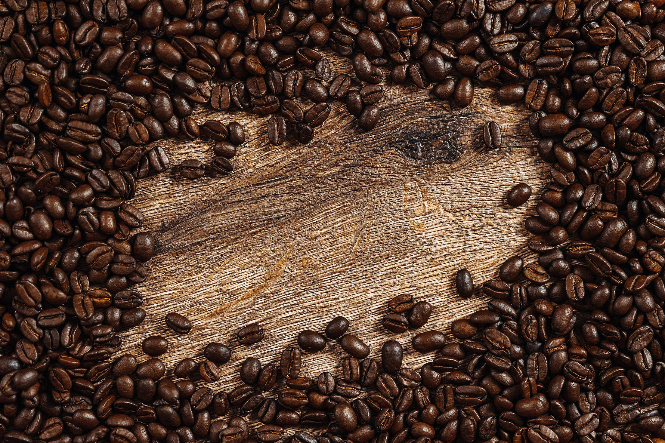 Coffee Beans with Place for Text Free Stock Photo