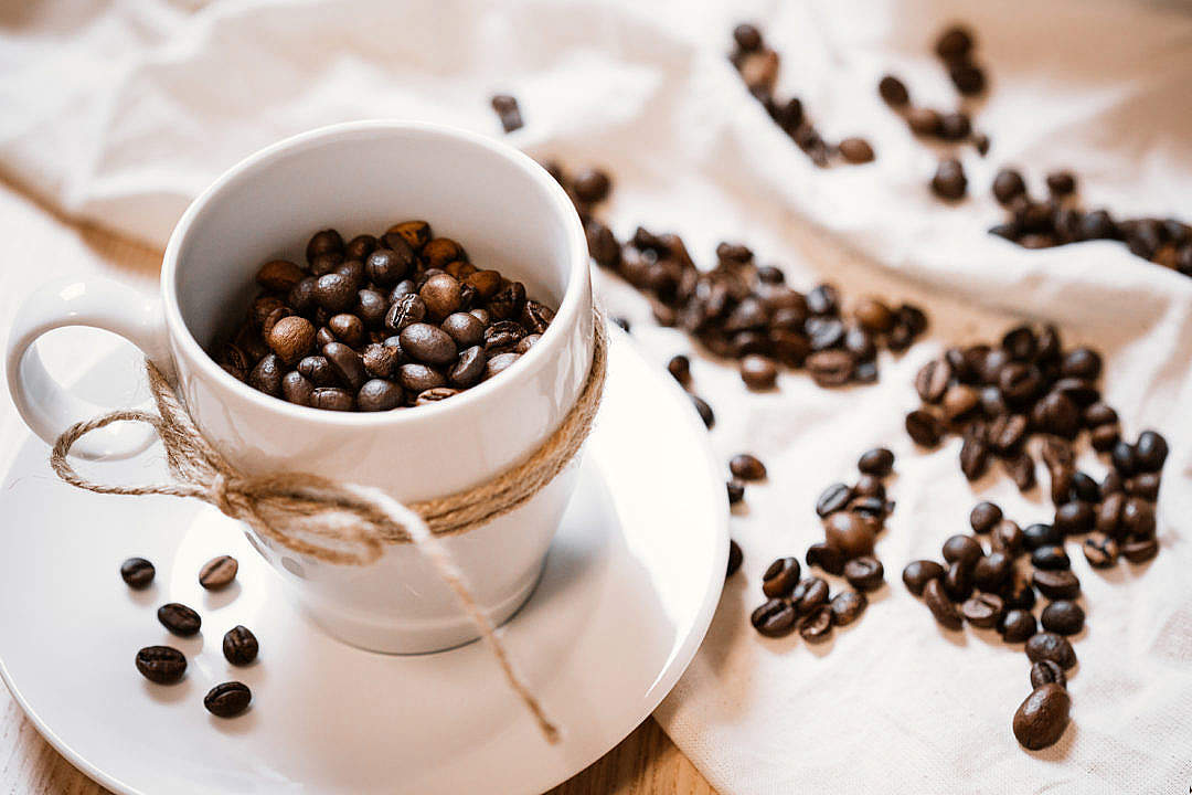 Download Coffee Cup and Beans Still Life FREE Stock Photo