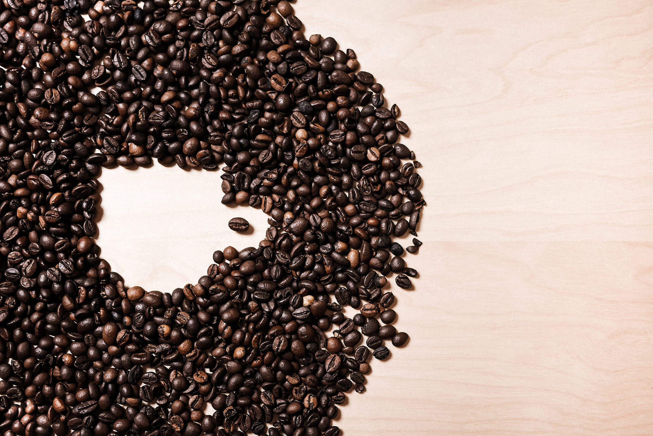 Coffee Cup Shape in Coffee Beans #2 Free Stock Photo