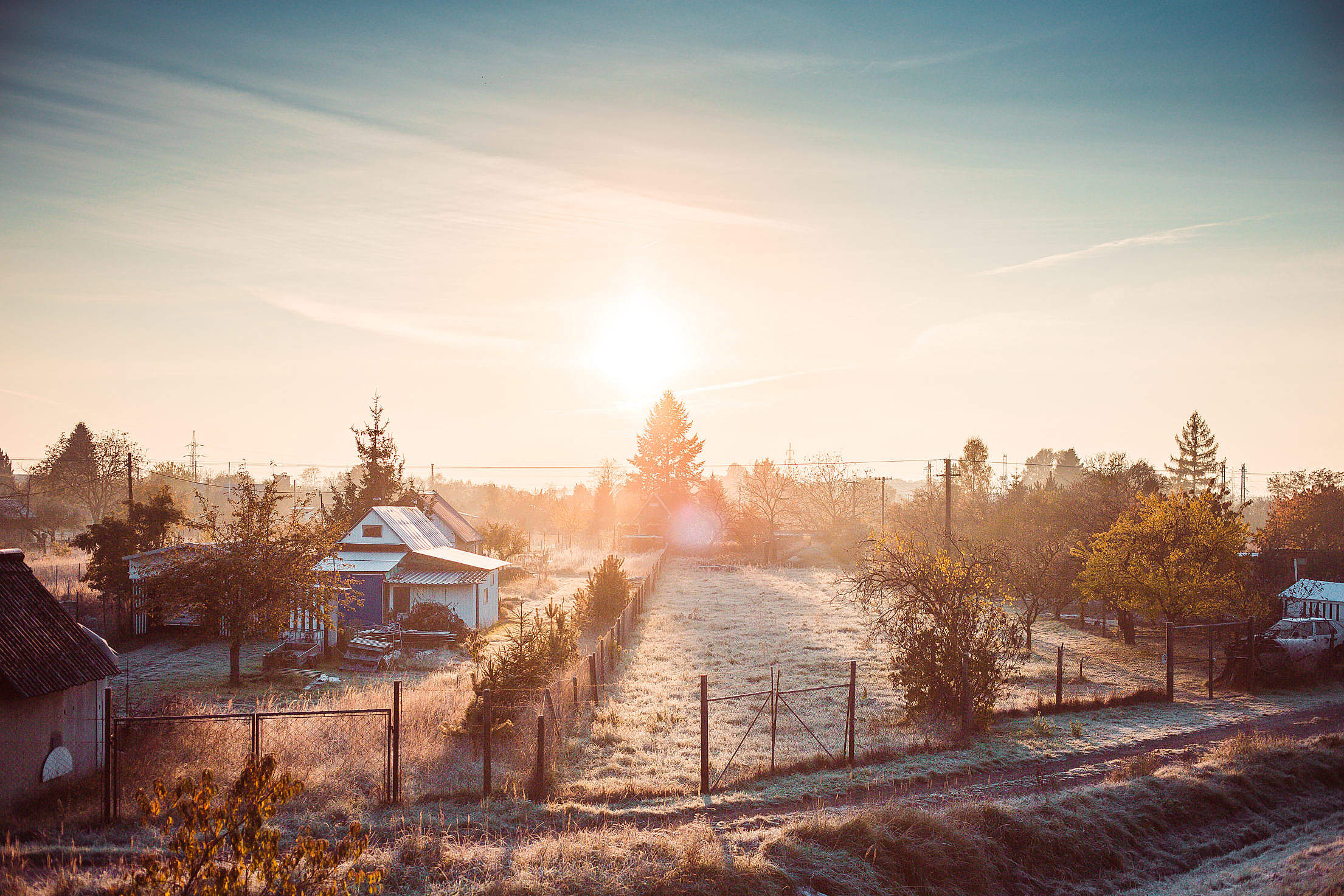Cold Winter Morning over Gardening Colony Free Stock Photo