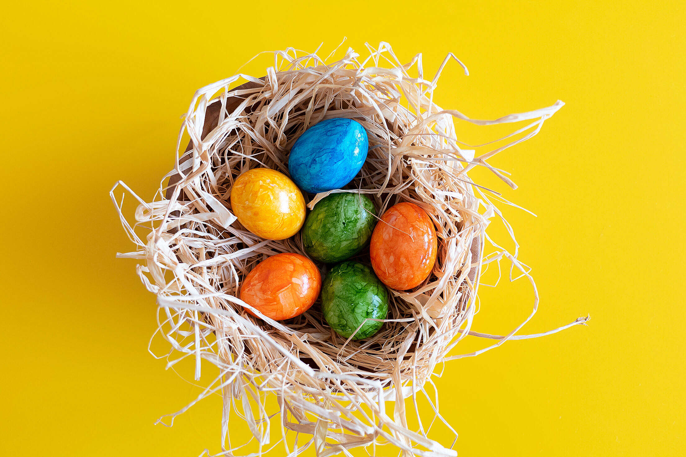 Colored Eggs on Easter Holidays Free Stock Photo