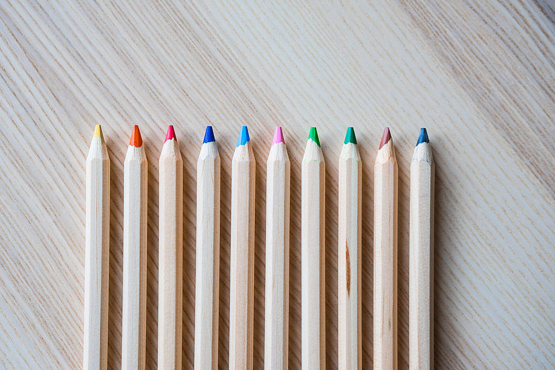 Download Colored Pencils in a Row #1 FREE Stock Photo