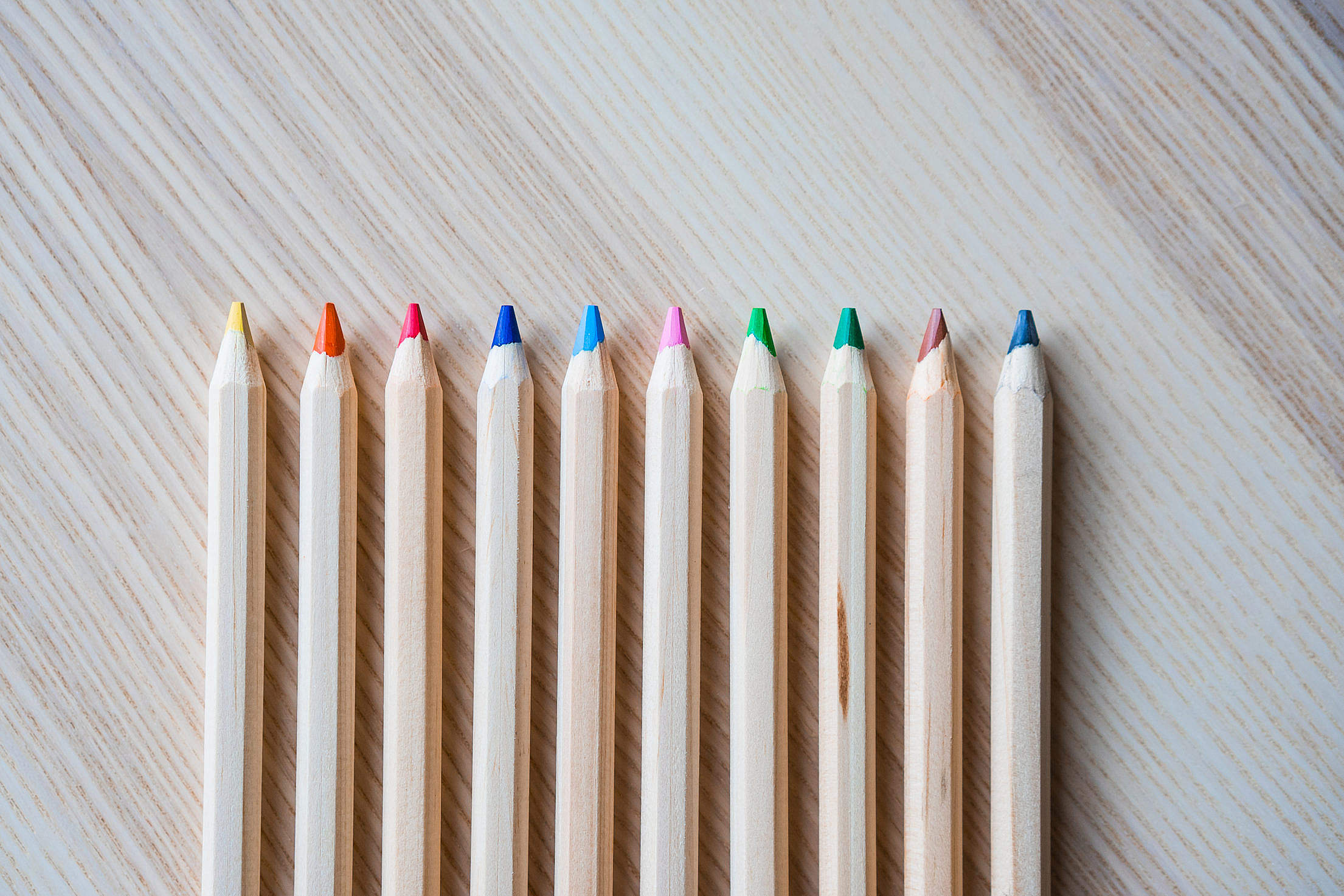 Colored Pencils in a Row #1 Free Stock Photo