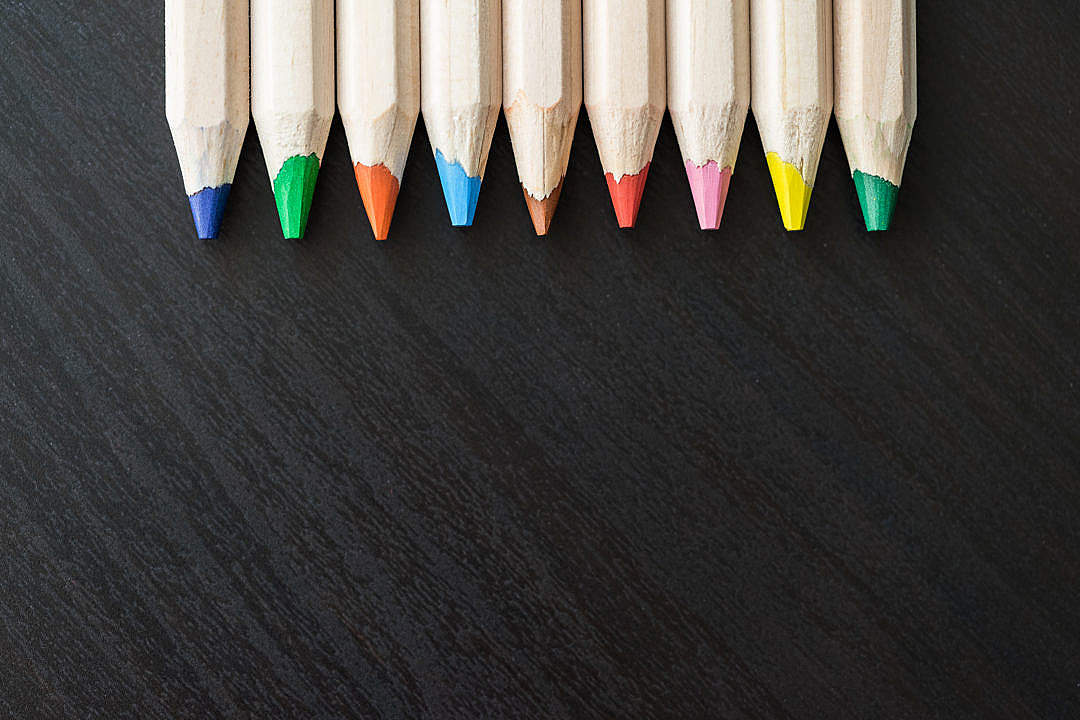 Download Colored Pencils Upside Down with Room for Text FREE Stock Photo