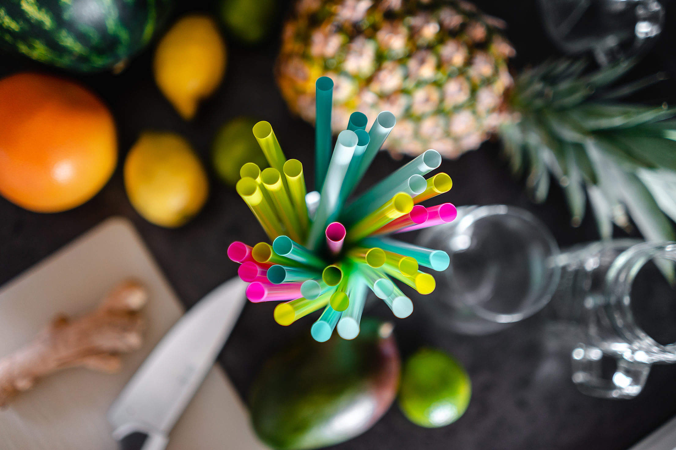 Colored Plastic Straws Ready for Party Free Stock Photo