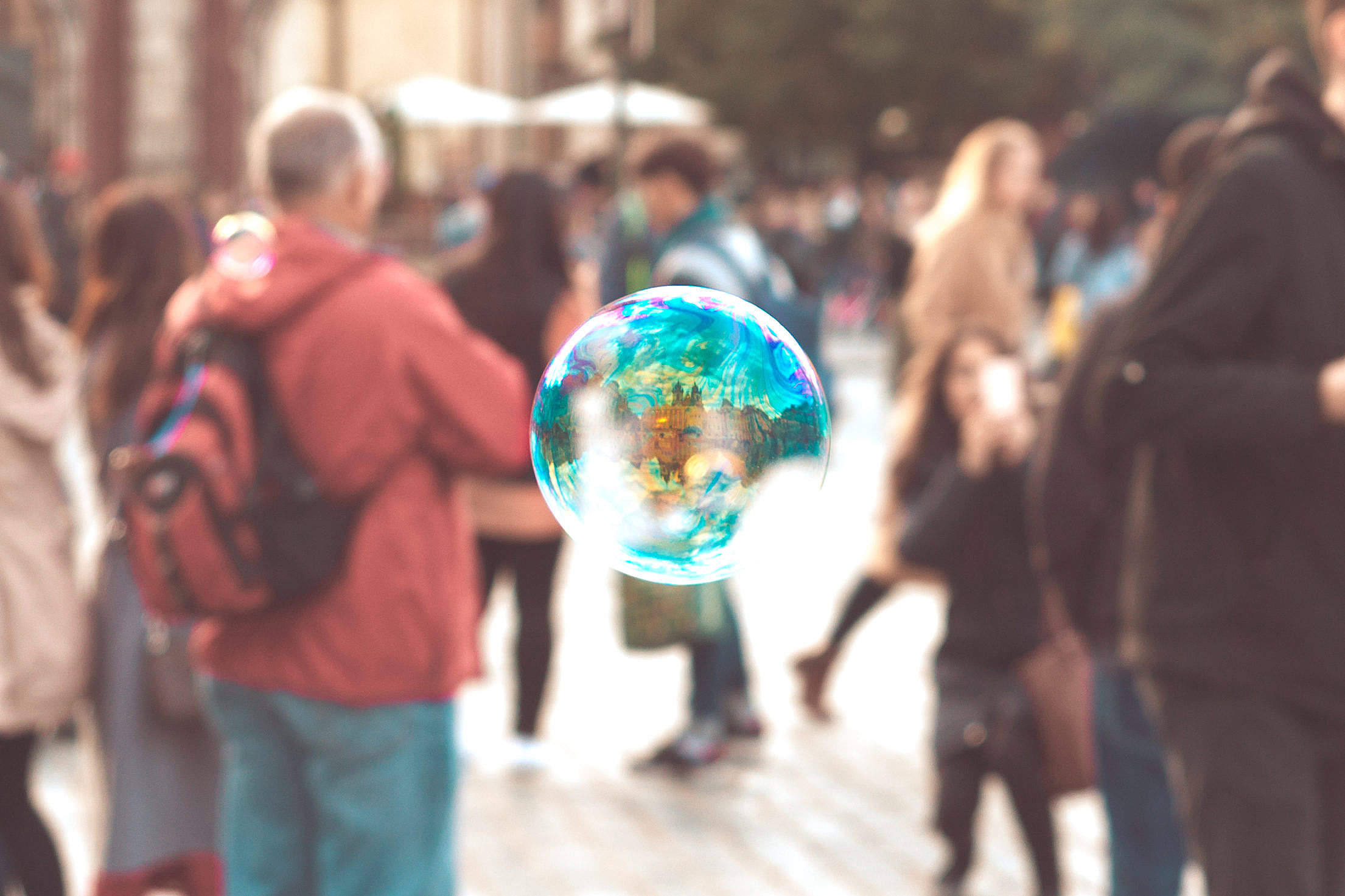 Colorful Bubble With Reflection of Prague Buildings Free Stock Photo