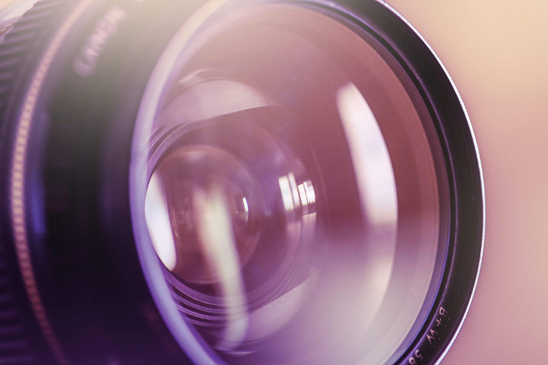 Colorful DSLR Lens Close Up Free Stock Photo