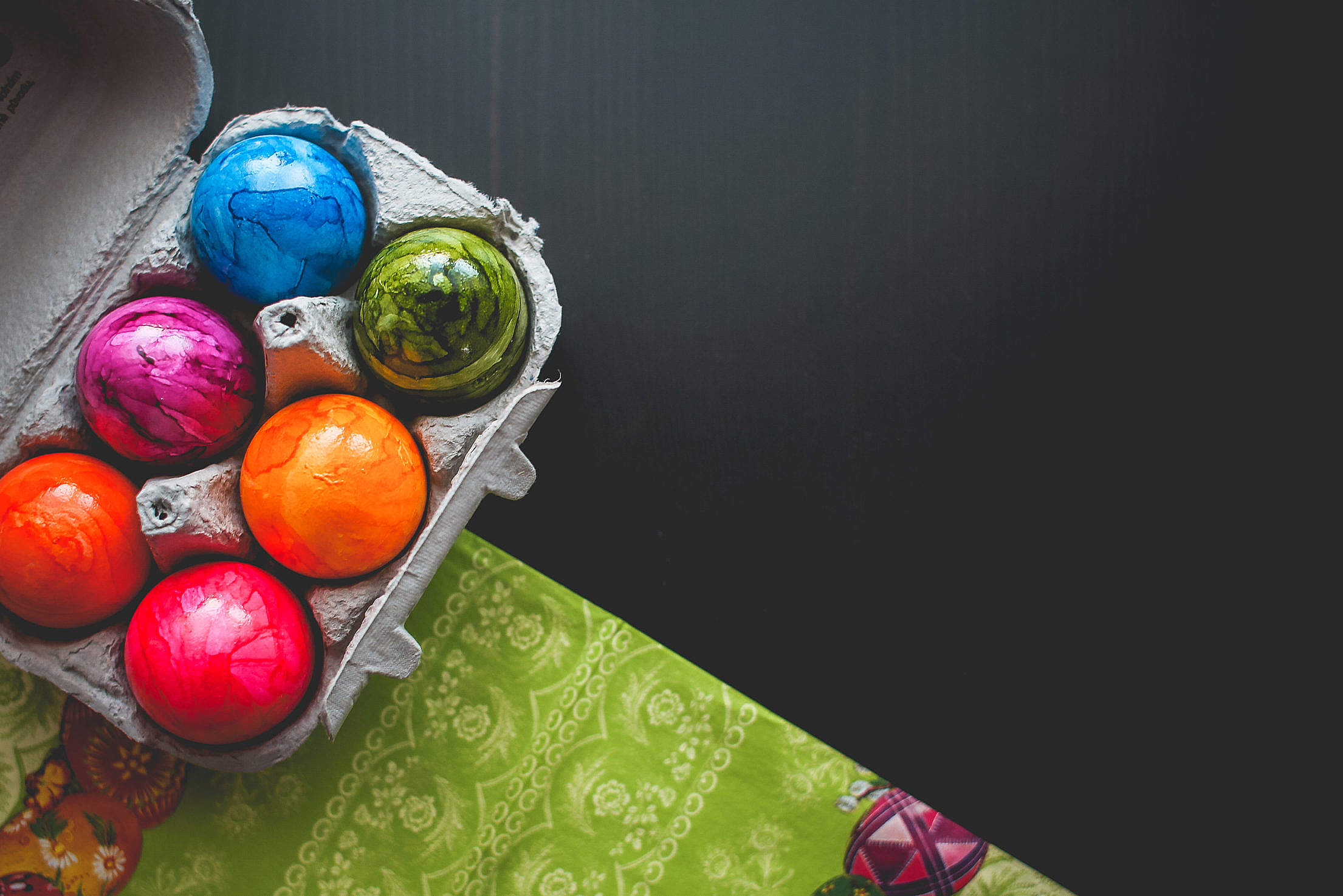 Colorful Easter Eggs with Room for Text Free Stock Photo