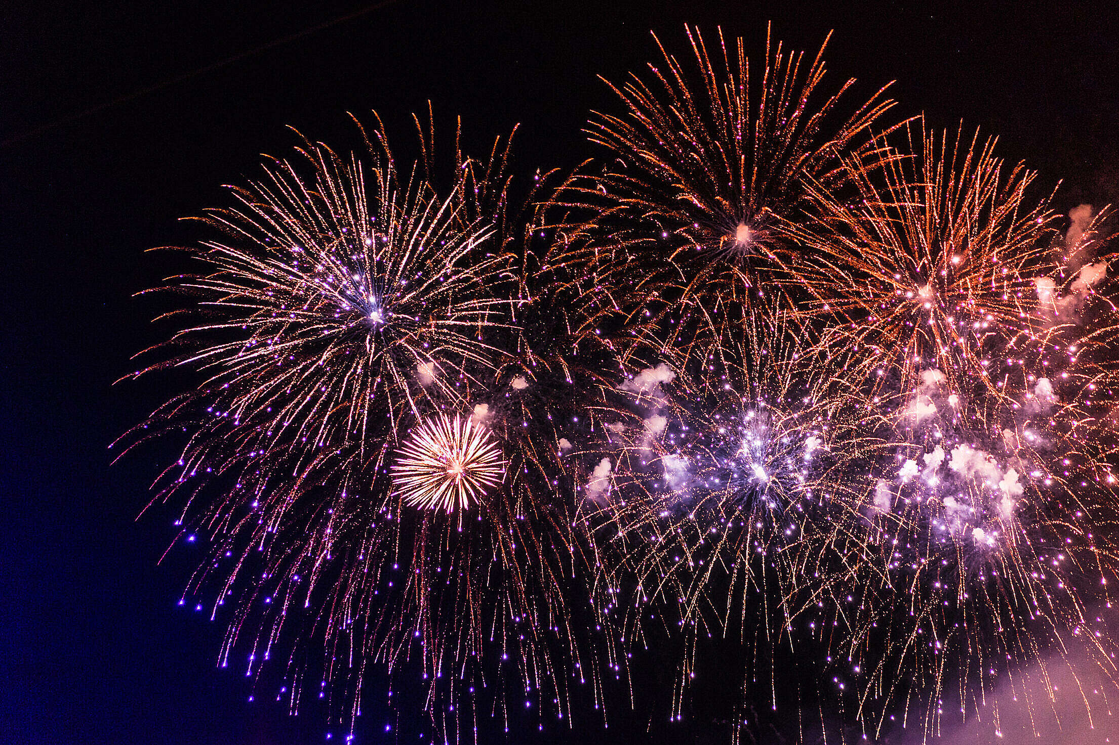 Colorful Fireworks Pyrotechnics Against Black Night Sky Free Stock Photo