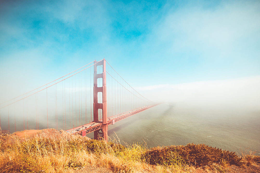 Download Colorful Golden Gate Bridge in Foggy But Sunny Weather FREE Stock Photo