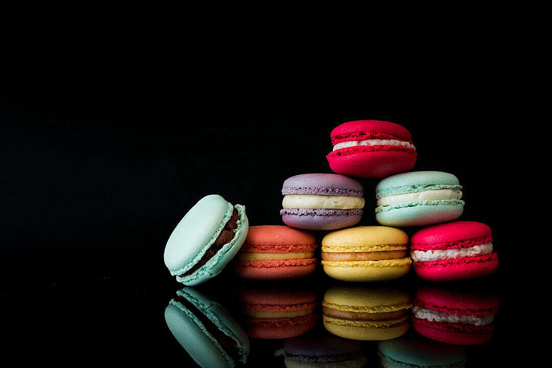 Download Colorful Macarons Still Life Black Background FREE Stock Photo