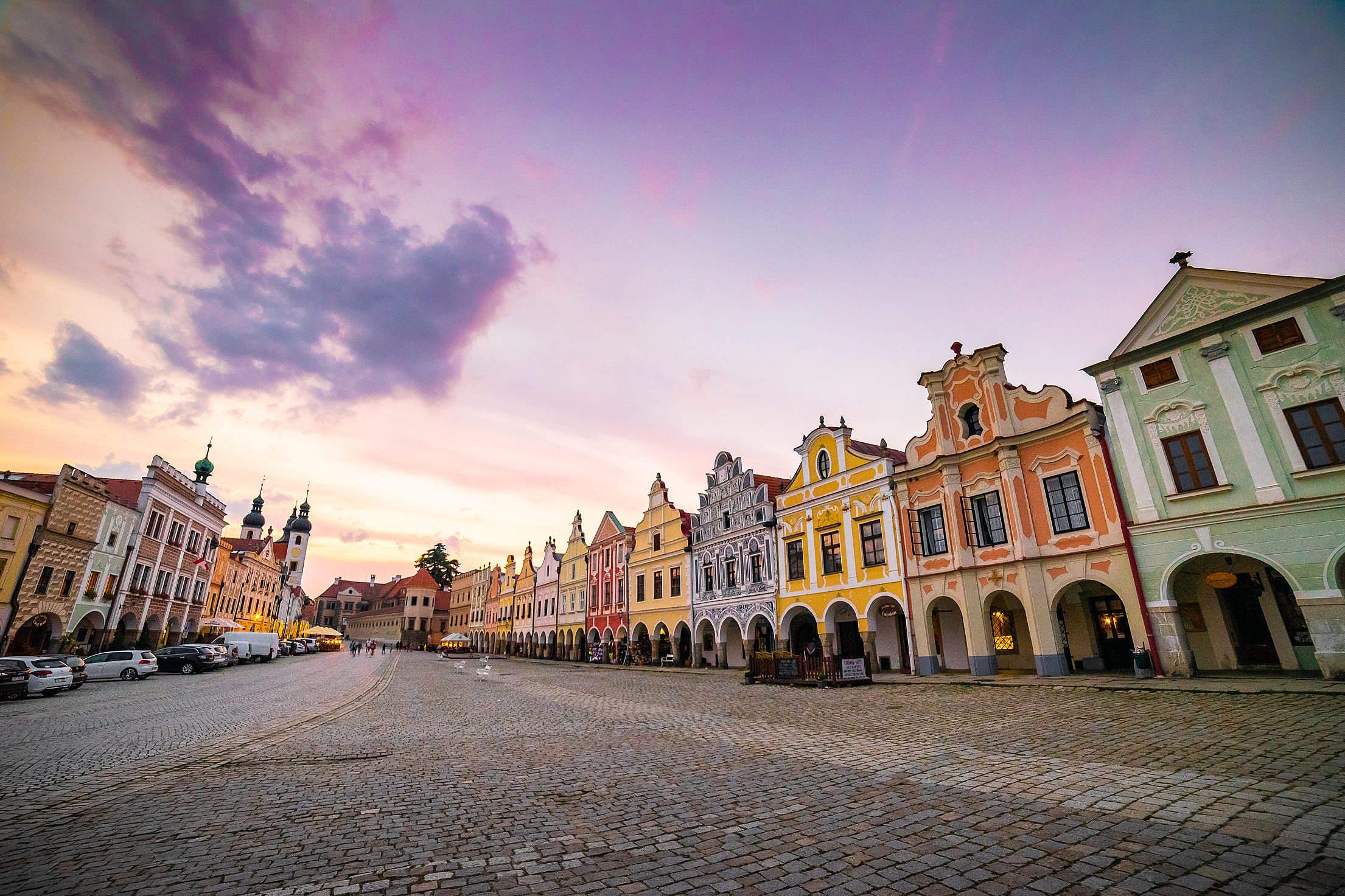 Colorful Square of Czech City Telč Free Stock Photo
