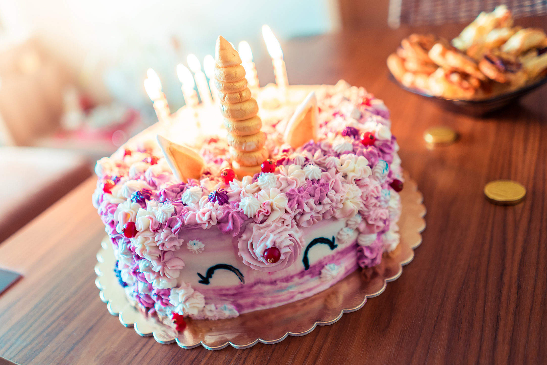 Colorful Unicorn Birthday Cake Free Stock Photo