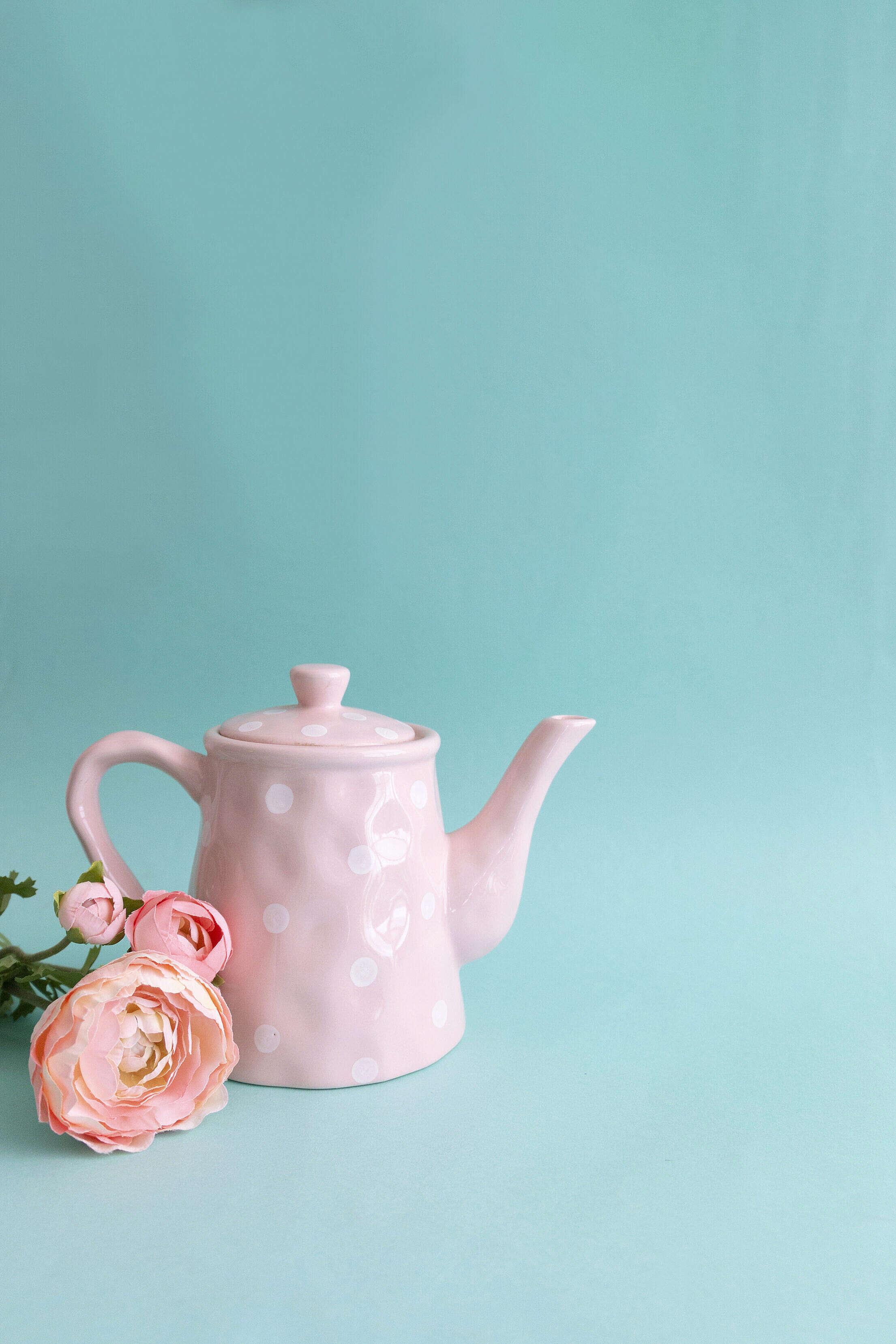 Colorful Vintage Teapot Tea Time Free Stock Photo