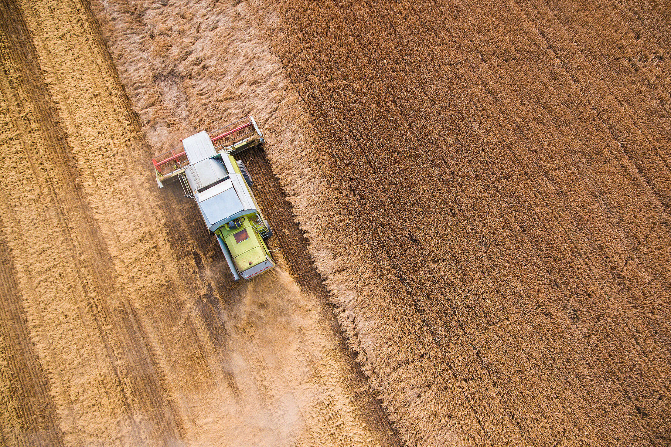 Combine Harvester at Work from Bird's Eye View #2 Free Stock Photo