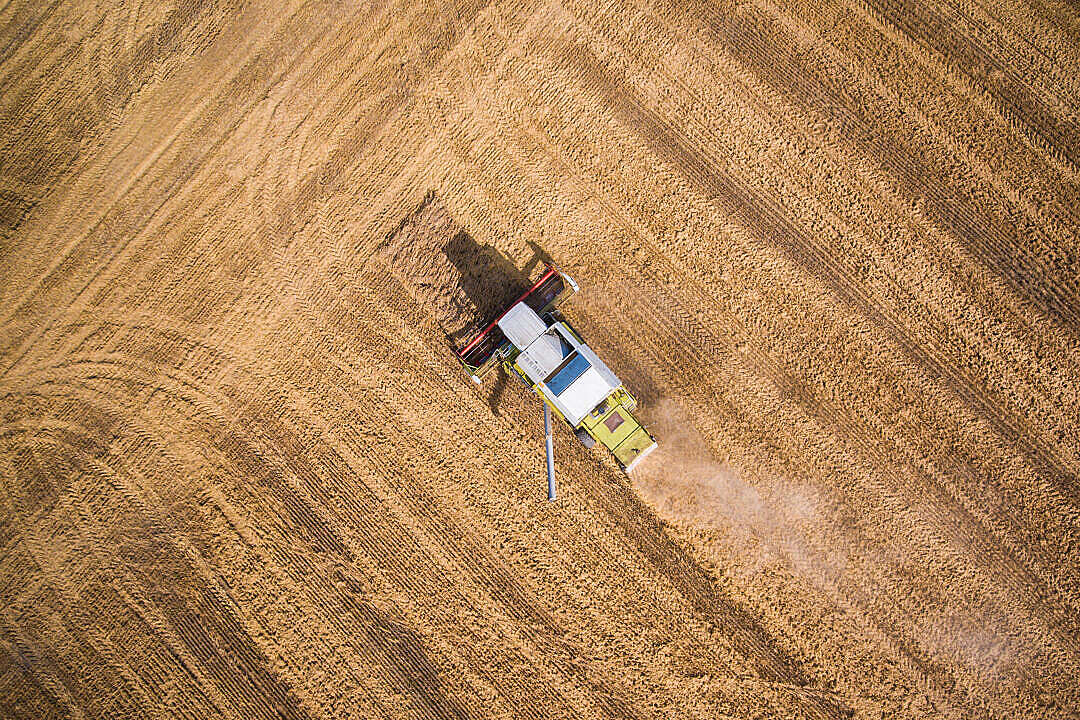 Download Combine Harvester at Work from Bird's Eye View FREE Stock Photo