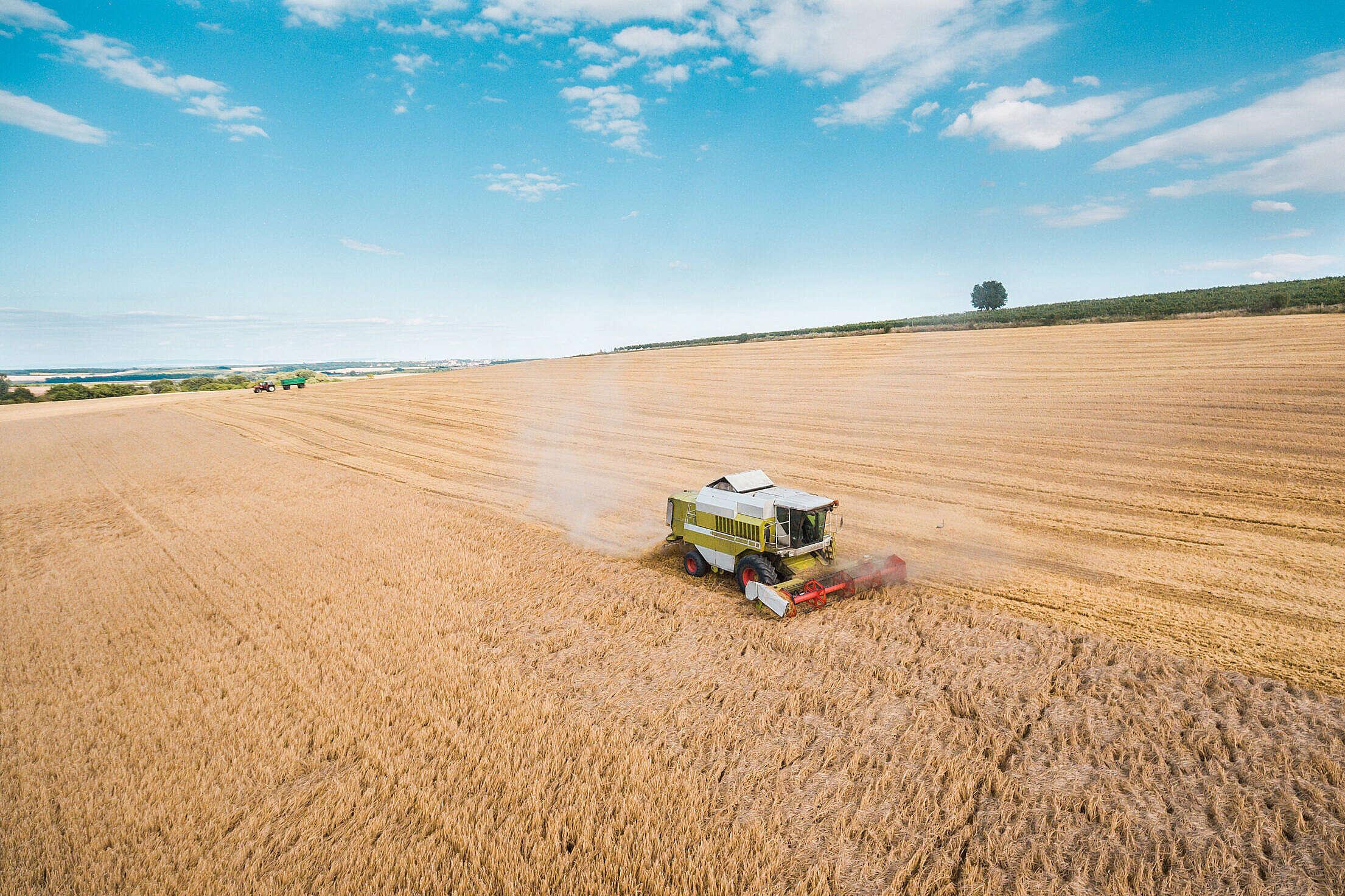 Combine Harvester Harvesting Wheat Crops Free Stock Photo