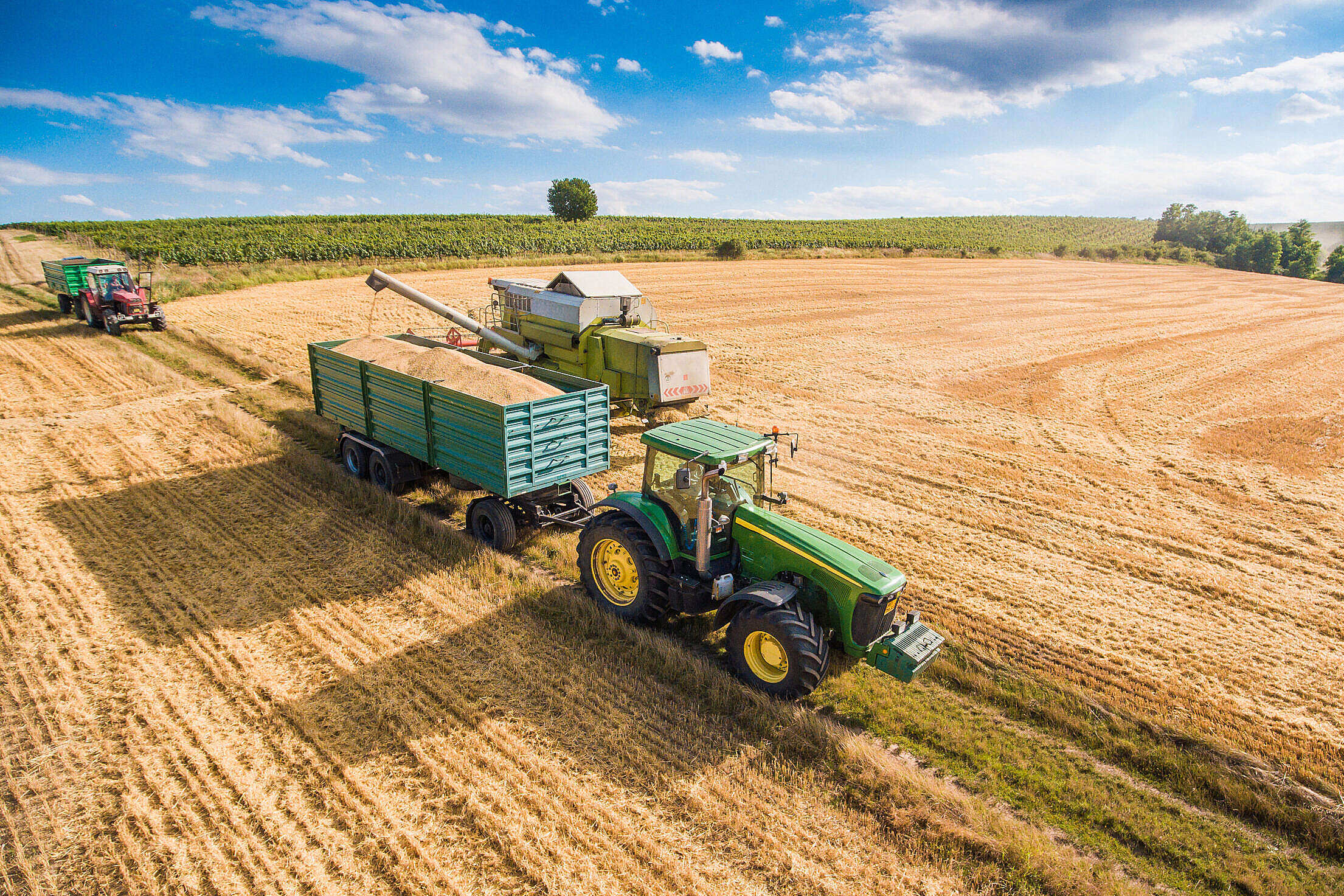 Combine Harvester Pouring Grain into Trailer Towed by Tractor Free Stock Photo