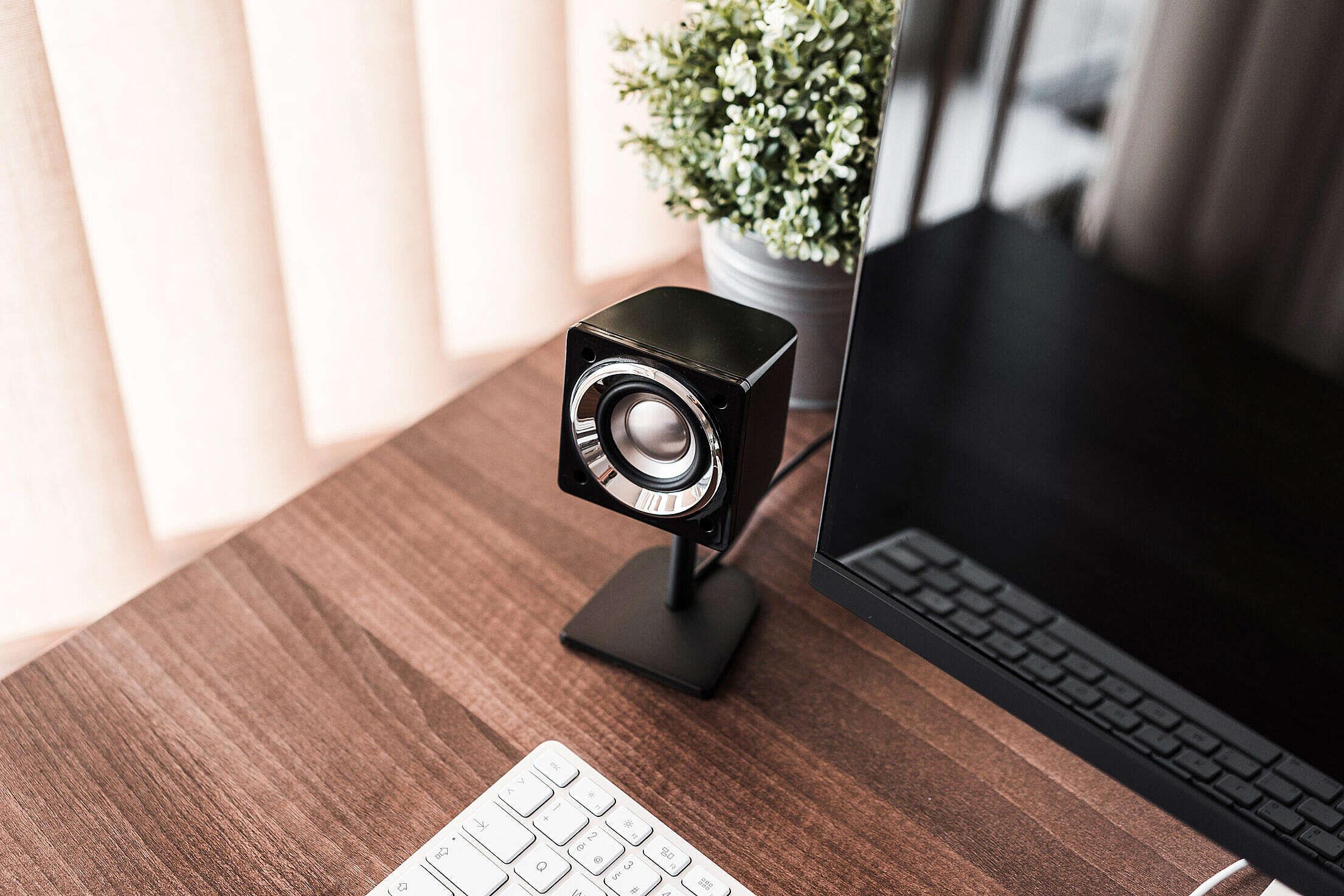 Computer Speaker and Desktop Setup Free Stock Photo