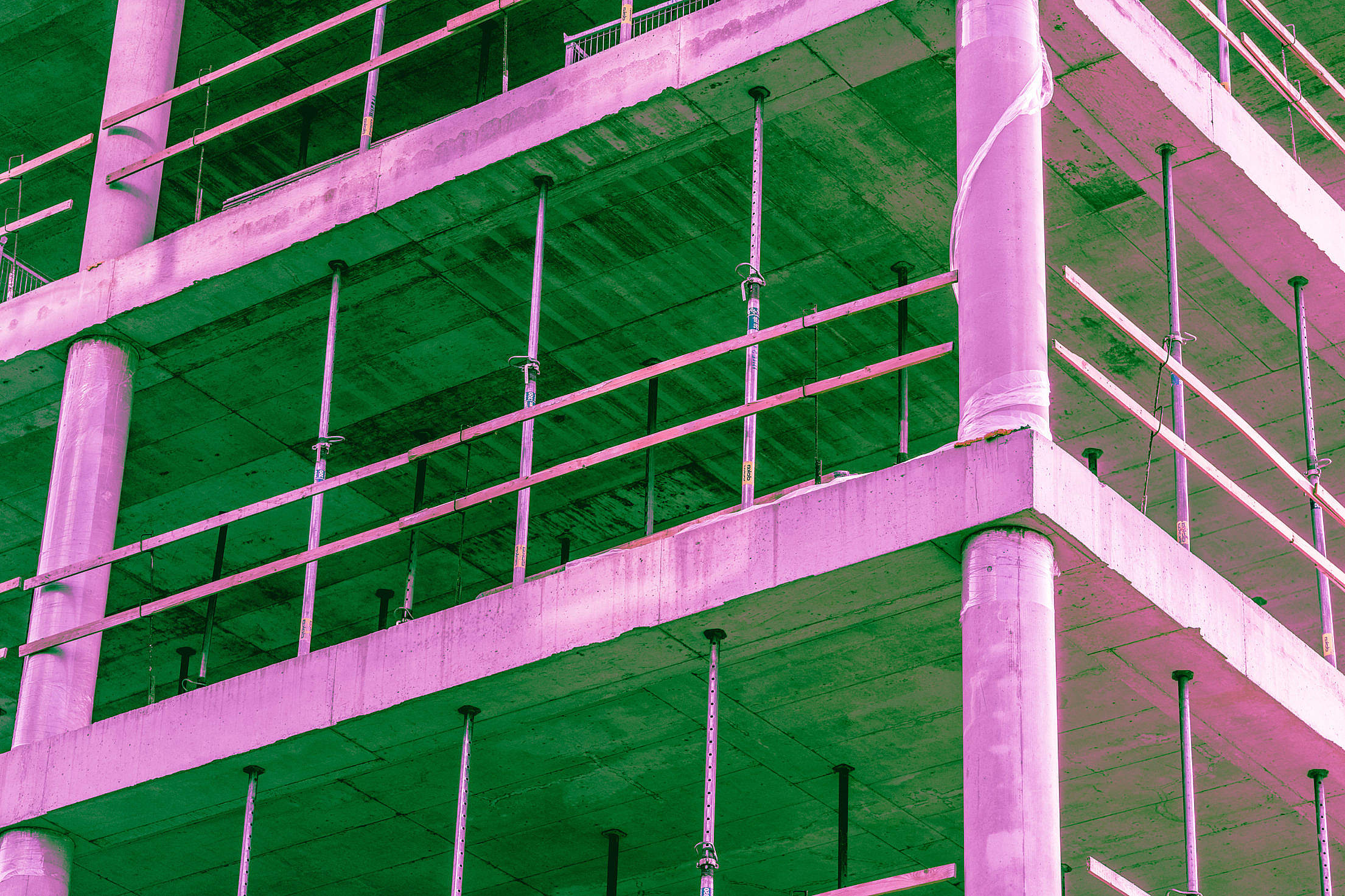 Construction Site Building Abstract Psychedelic Colors Free Stock Photo