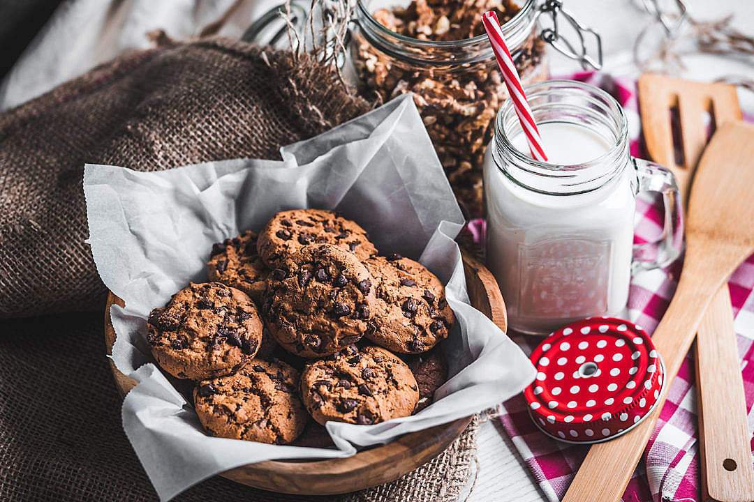 Download Cookies and Milk FREE Stock Photo