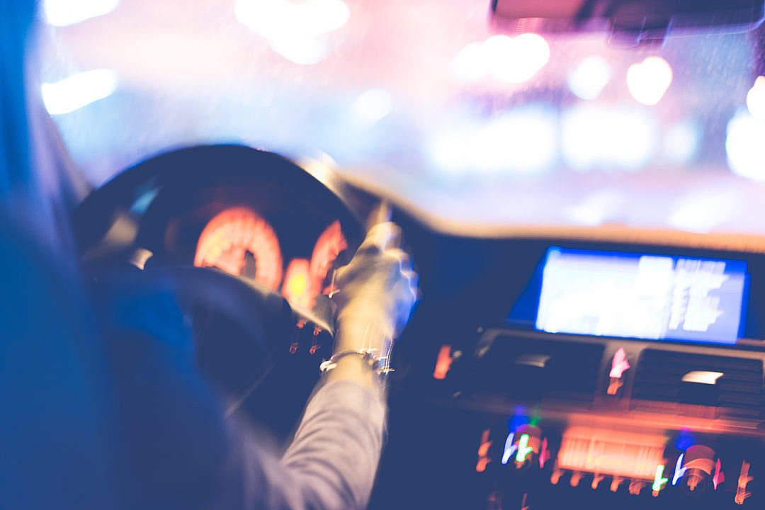 Download Crazy Driving Woman At Night FREE Stock Photo