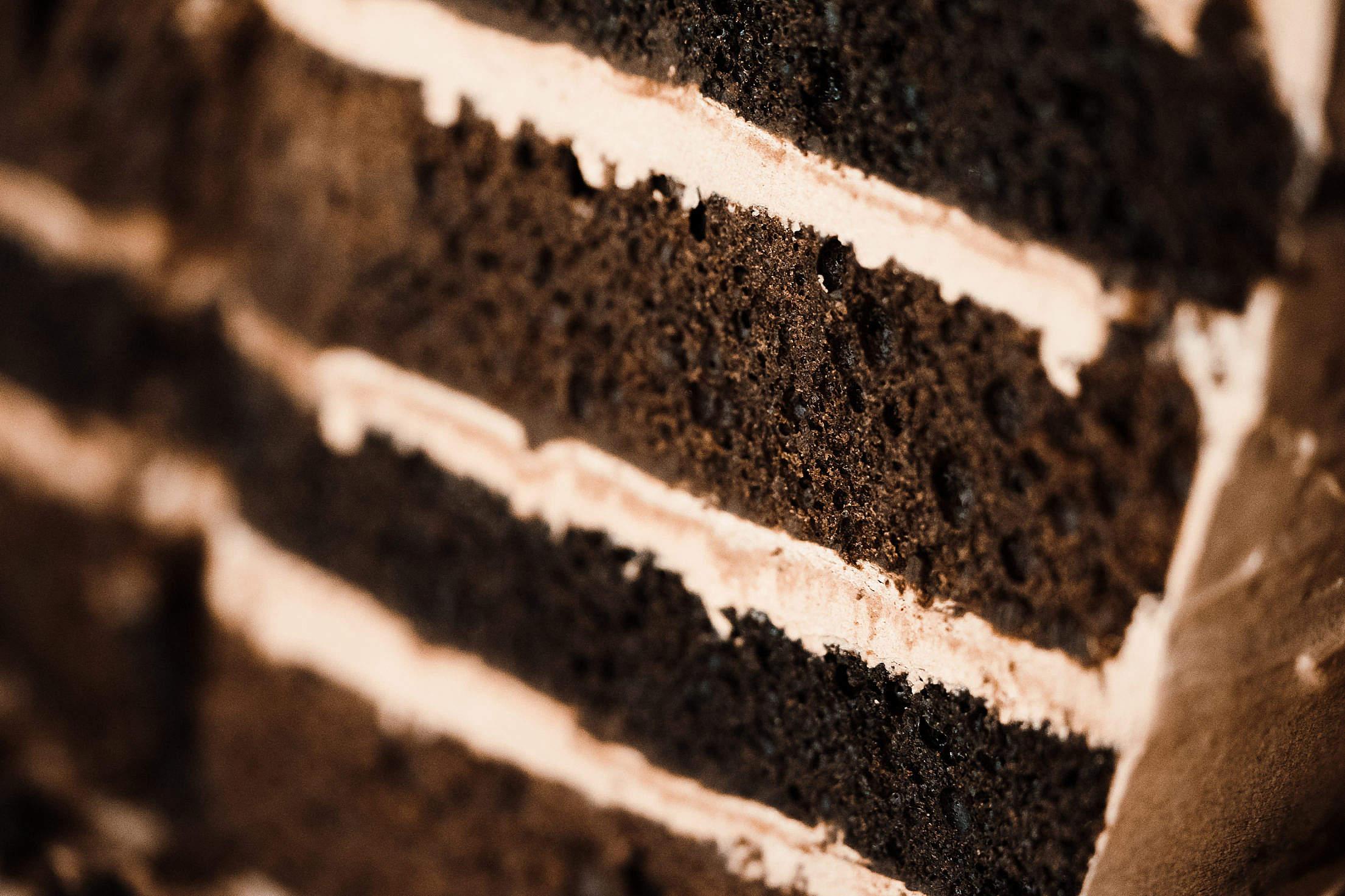Creamy Chocolate Cake Close Up Free Stock Photo