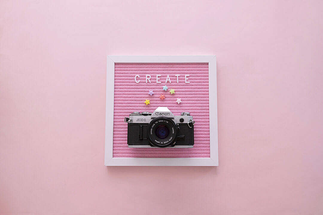 """Download """"Create"""" Word on Pink Letter Board with Camera FREE Stock Photo"""